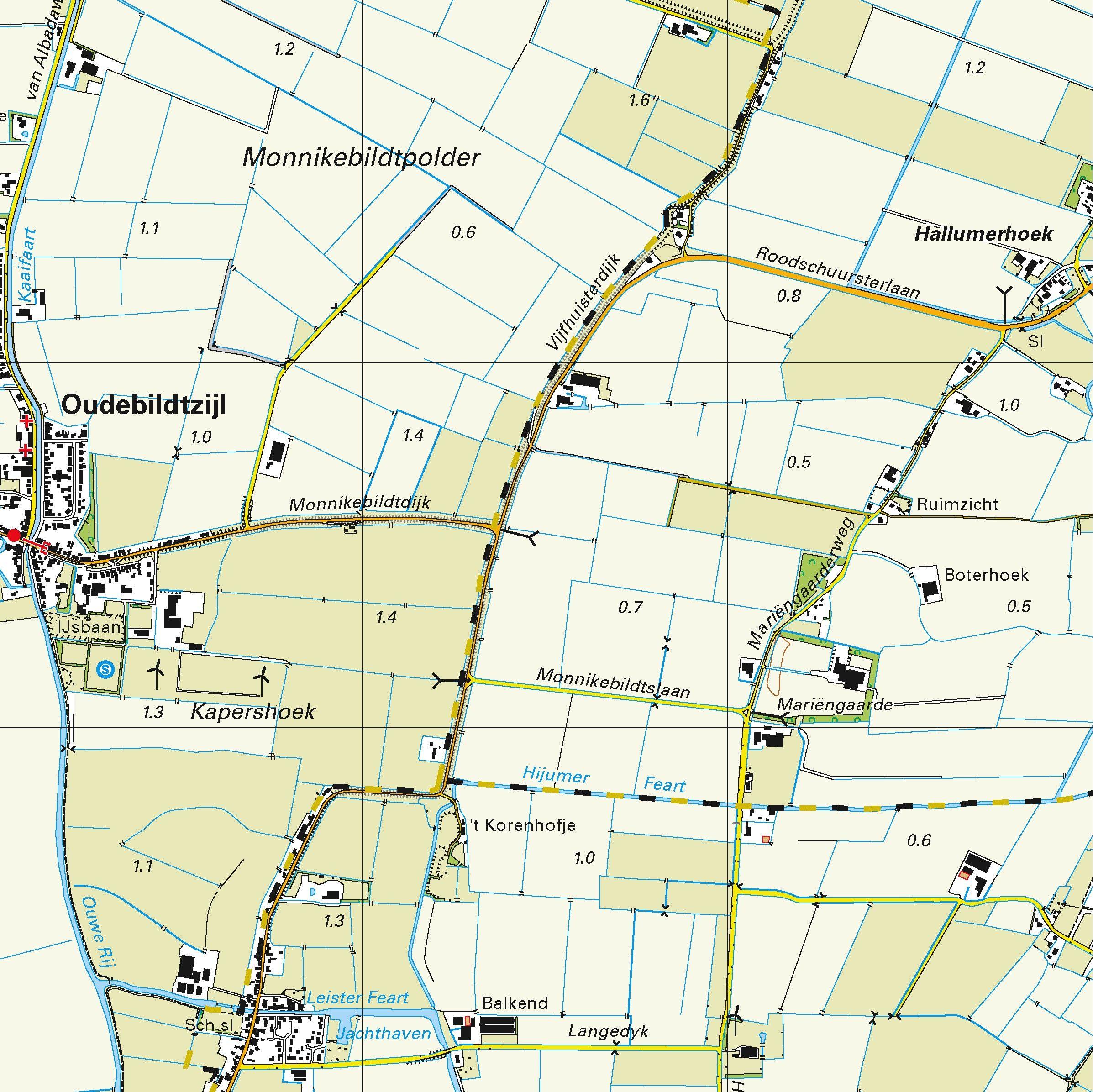 Topografische kaart schaal 1:25.000 (Ameland,  Sint-Annaparochie,  Vrouwenparochie)