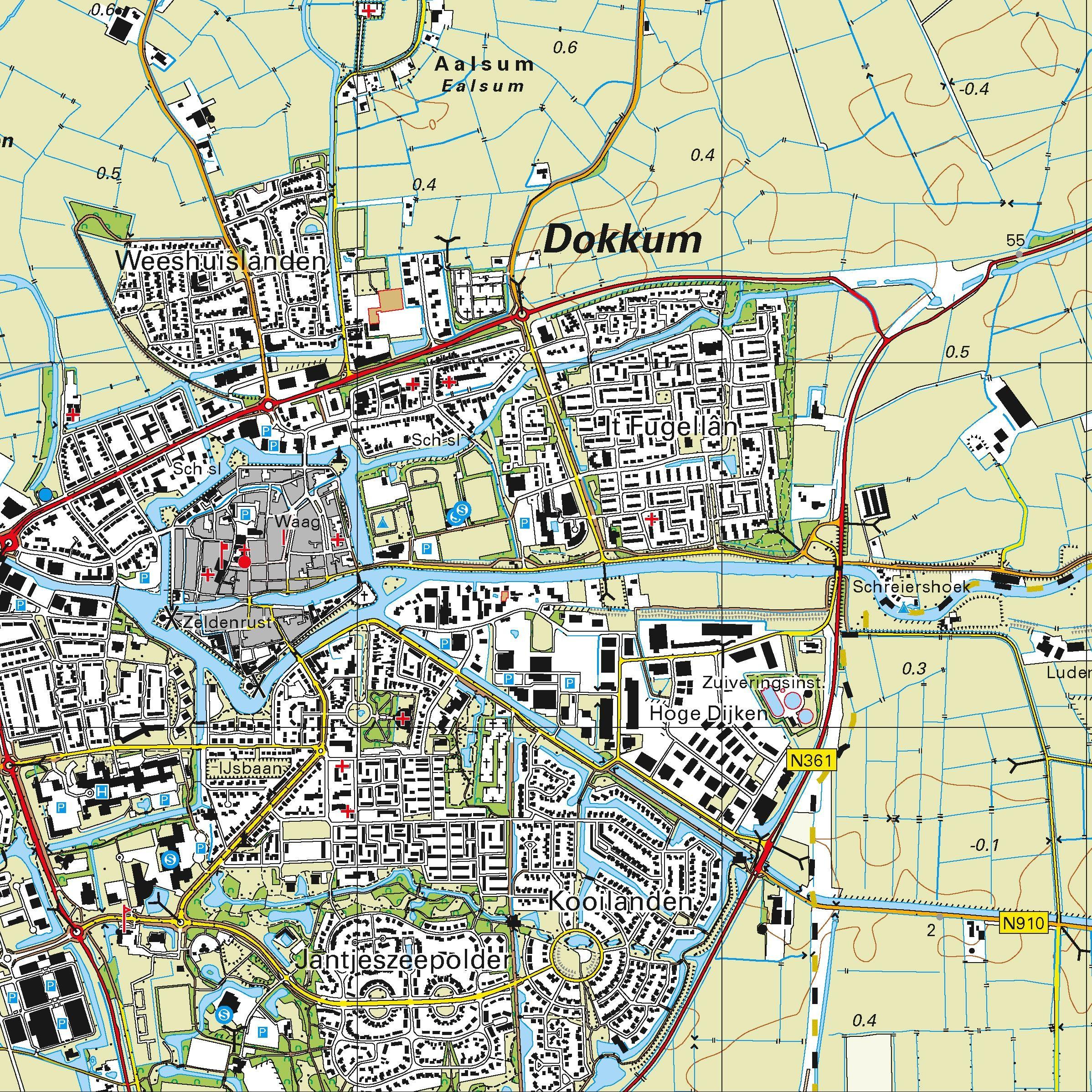 Topografische kaart schaal 1:25.000 (Ameland,  Marrum,  Hallum,  Dokkum,  Damwoude)