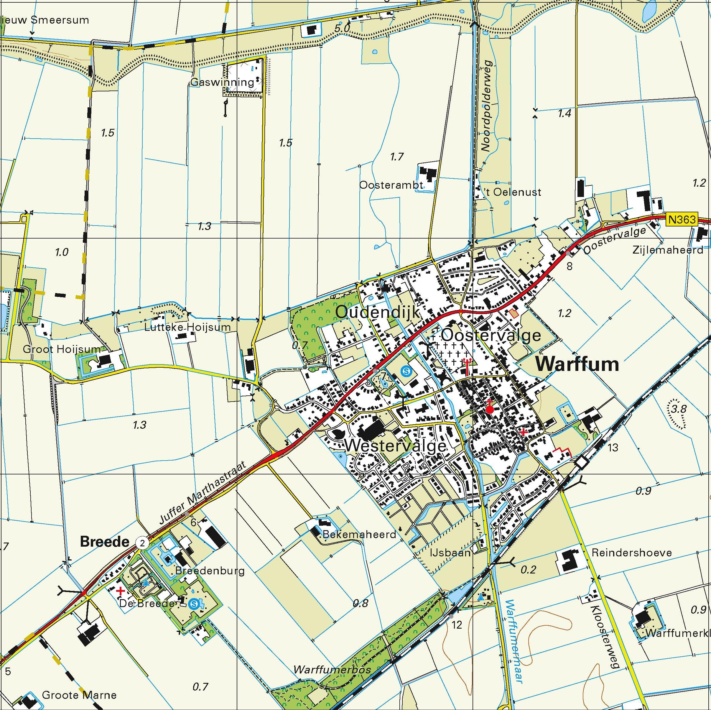 Topografische kaart Schaal 1:25.000 (Schiermonnikoog, Rottumerplaat, Rottummeroog, Warffum, Pieterburen)