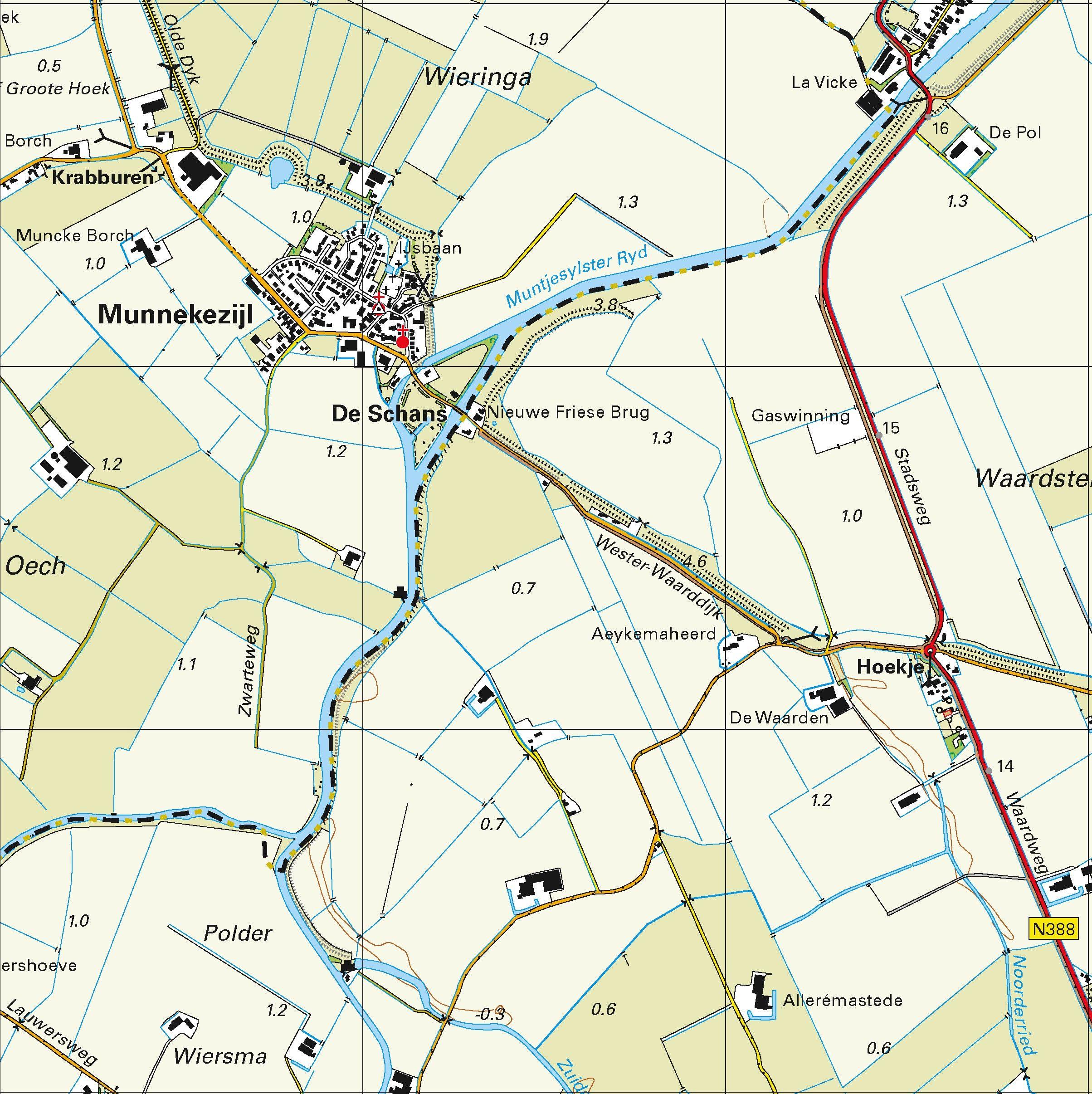 Topografische kaart schaal 1:25.000 (Schiermonnikoog, Anjum, Kollum, Munnekezijl, Zoutkamp)