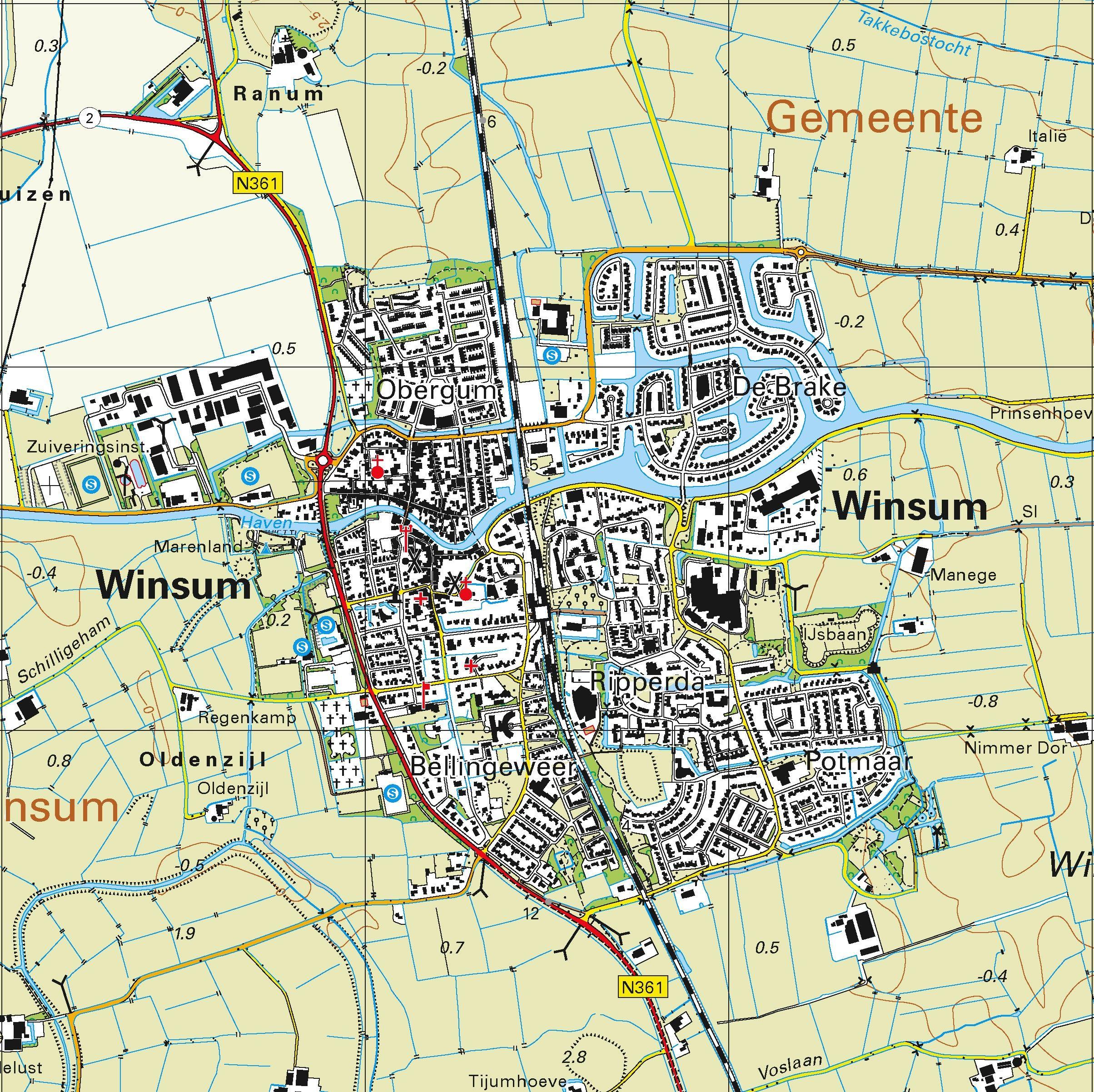 Topografische kaart schaal 1:25.000 (Warffum, Leens, Oldehove, Winsum, Bedum)