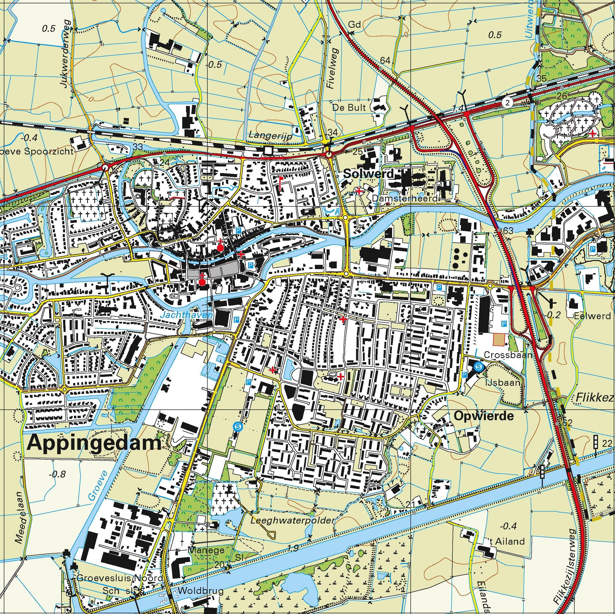 Topografische kaart schaal 1:25.000 (Delfzijl, Appingedam, Loppersum, Uithuizen, Ten Boer)