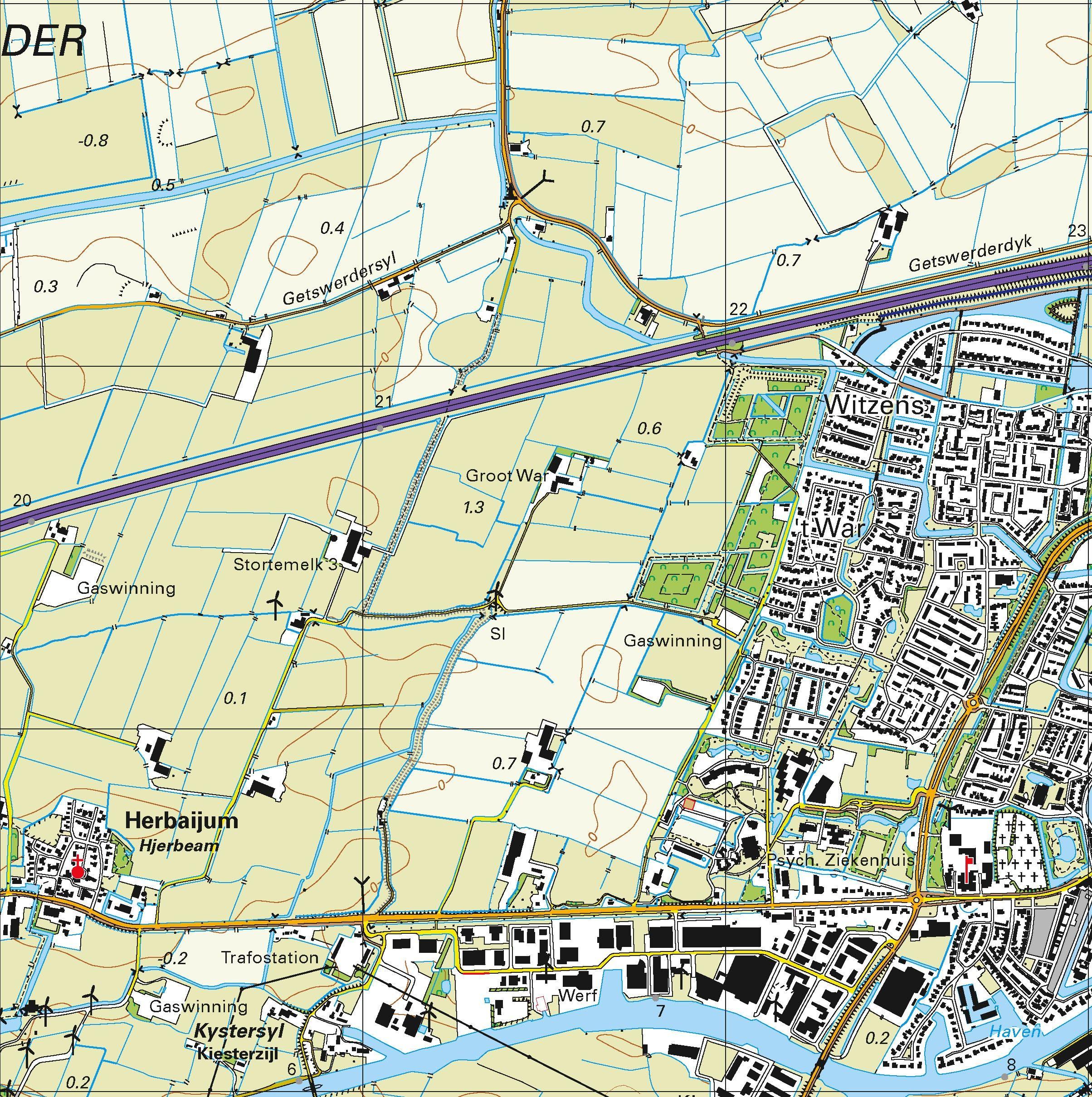 Topografische kaart schaal 1:25.000 (Harlingen, Franeker, Bolsward, Witmarsum, Makkum)