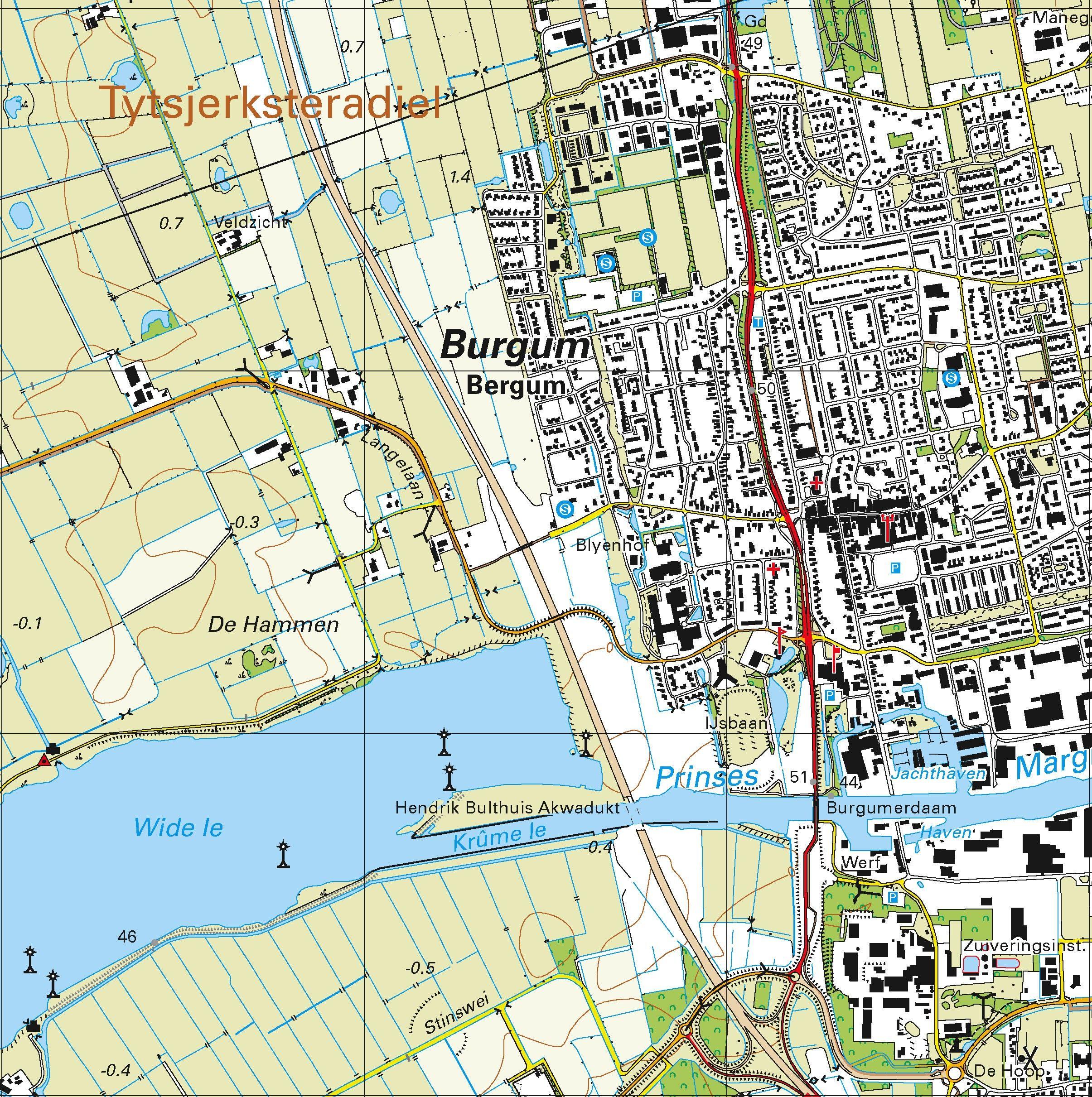 Topografische kaart schaal 1:25.000 (Buitenpost, Susrhuisterveen, Drachten, Beetsterzwaag, Bergum)