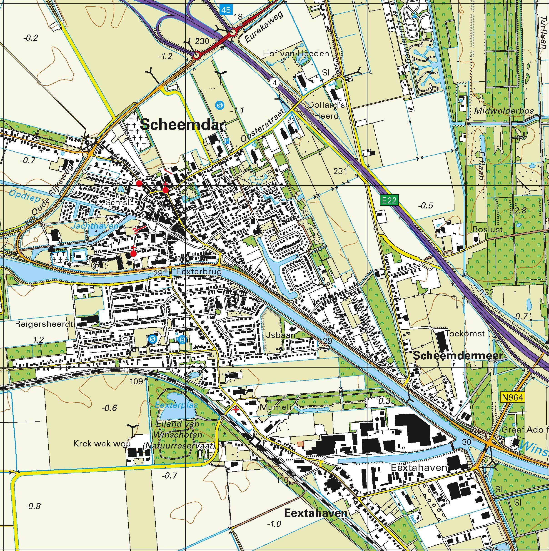Topografische kaart schaal 1:25.000 (Winschoten, Oude-Pekela, Nieuwe-Pekela, Veendam, Zuidbroek)