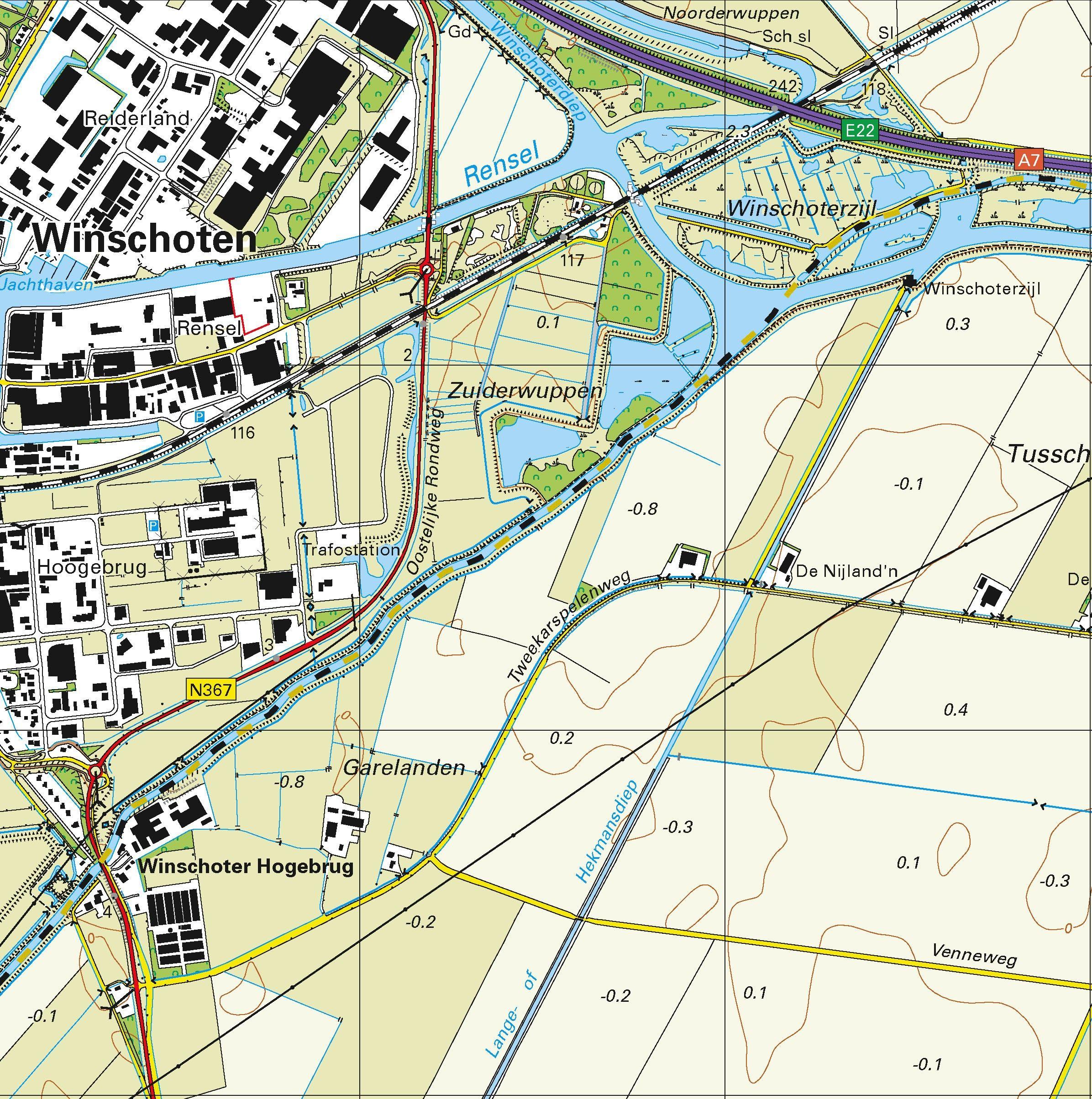 Topografische kaart schaal 1:25.000 (Scheemda, Winschoten, Nieuweschans, Blijham, Oude-Pekela)