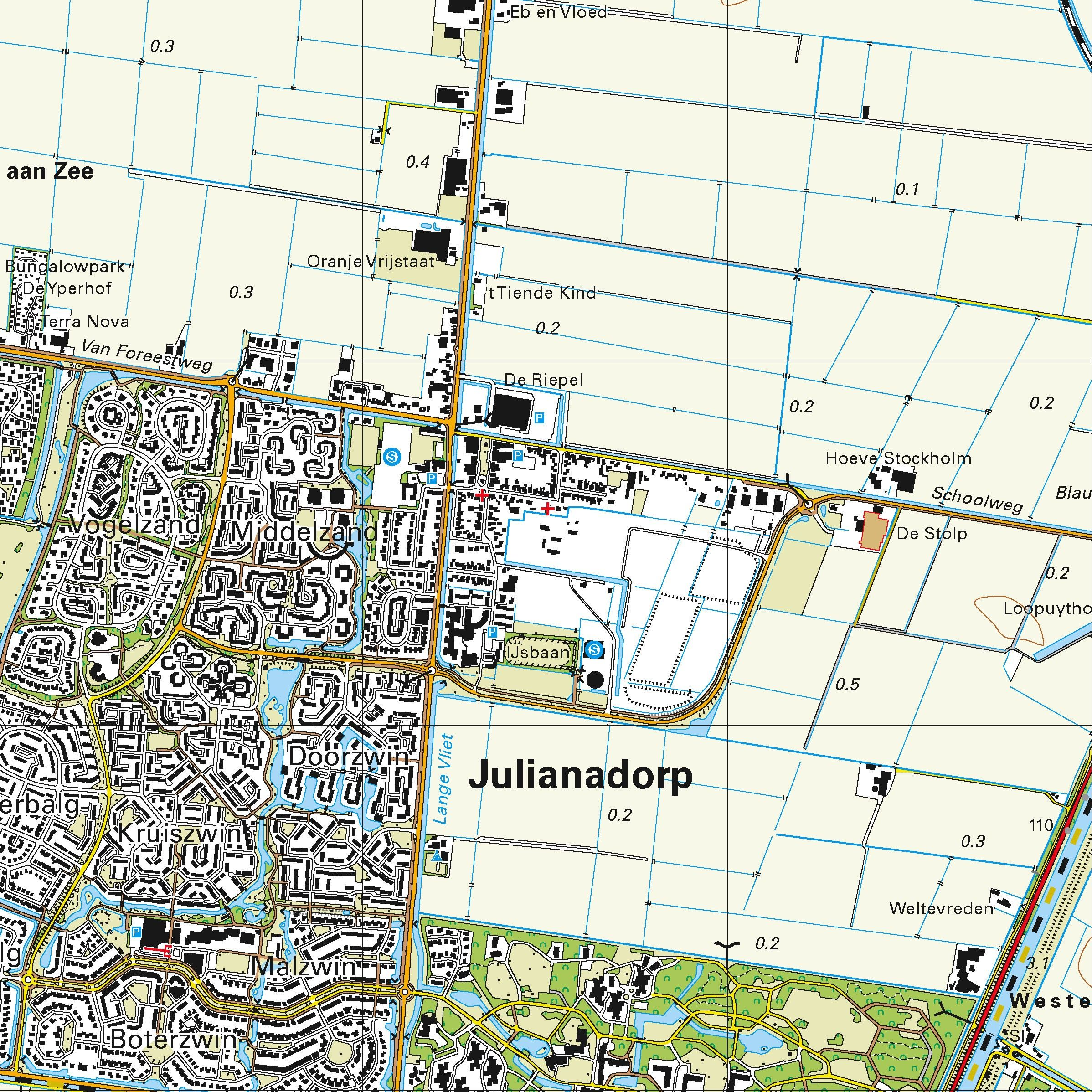 Topografische kaart schaal 1:25.000 (Texel, Den Helder, Julianadorp, Callantsoog, Anna Paulowna)