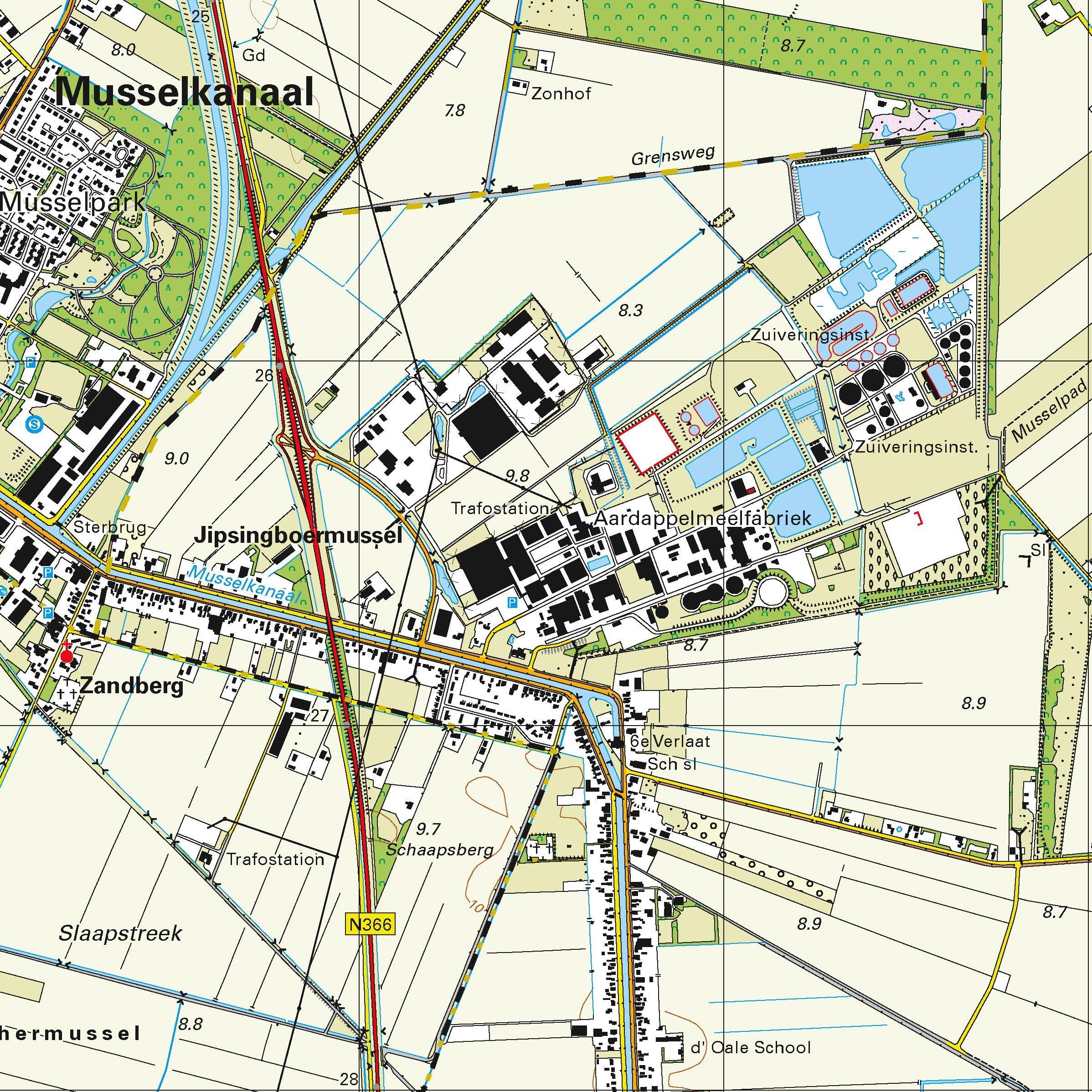Topografische kaart schaal 1:25.000 (Stadskanaal, Nieuw-Buinen, Exloo, Odoorn, Ter Apel)