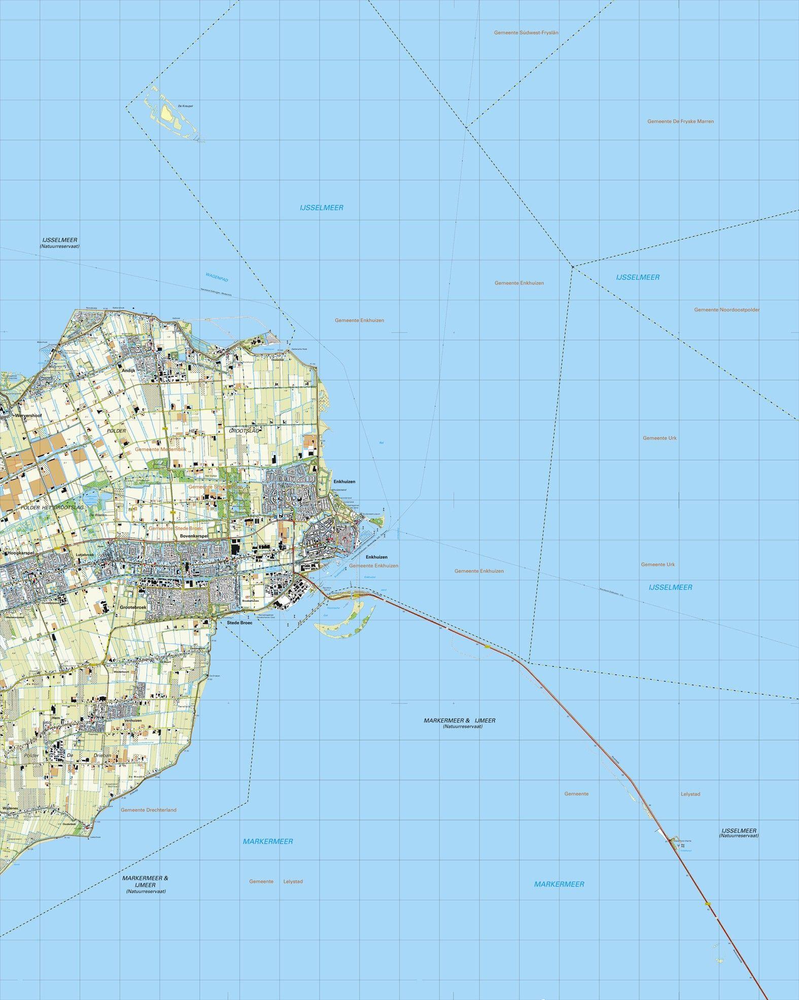 Topografische kaart schaal 1:25.000 (Enkhuizen, Andijk, Bovenkarspel, Hoogkarspel, Grotebroek)