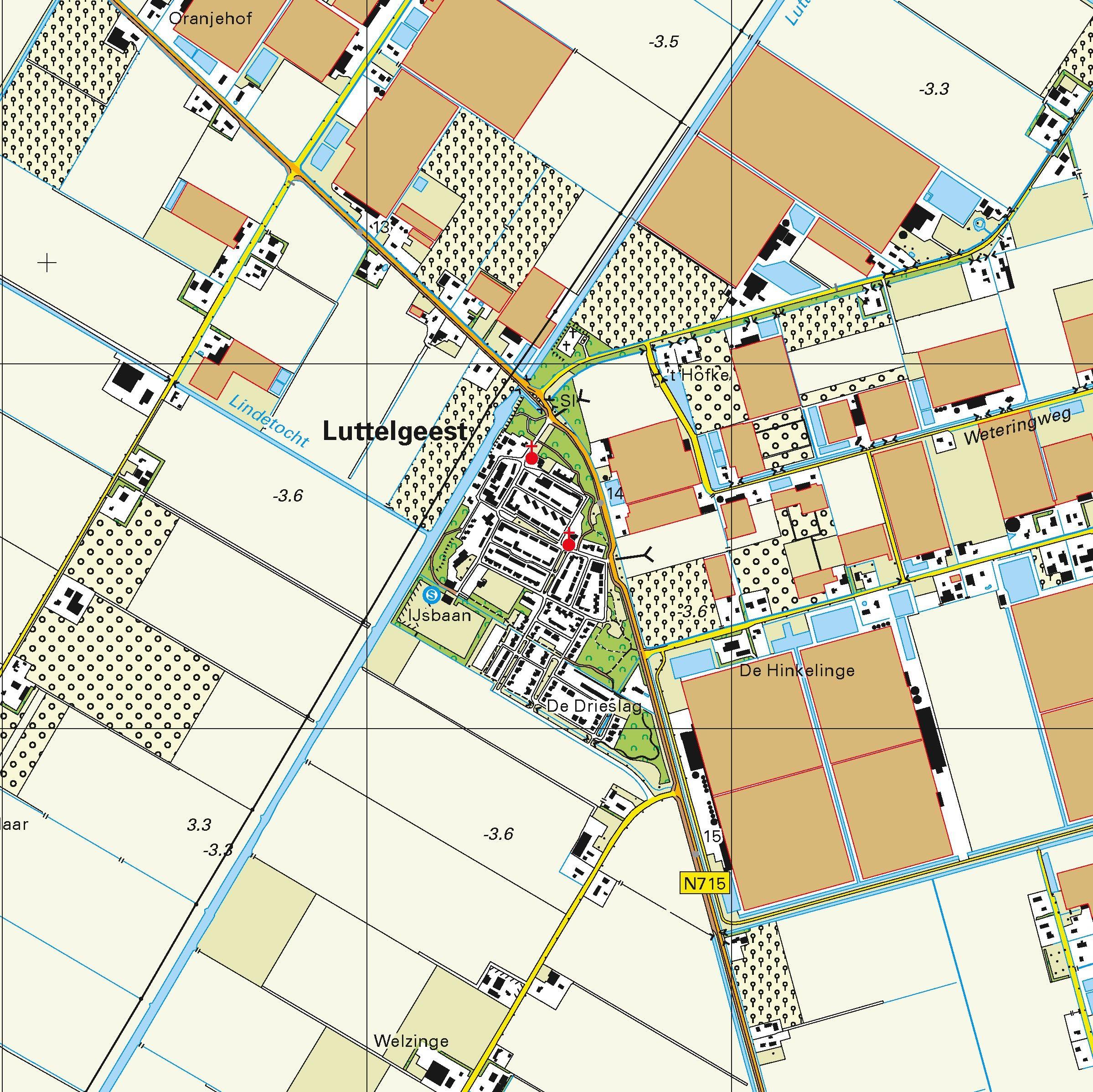 Topografische kaart schaal 1:25.000 (Emmeloord, Marknesse, Vollenhove, Genemuiden, Ens)