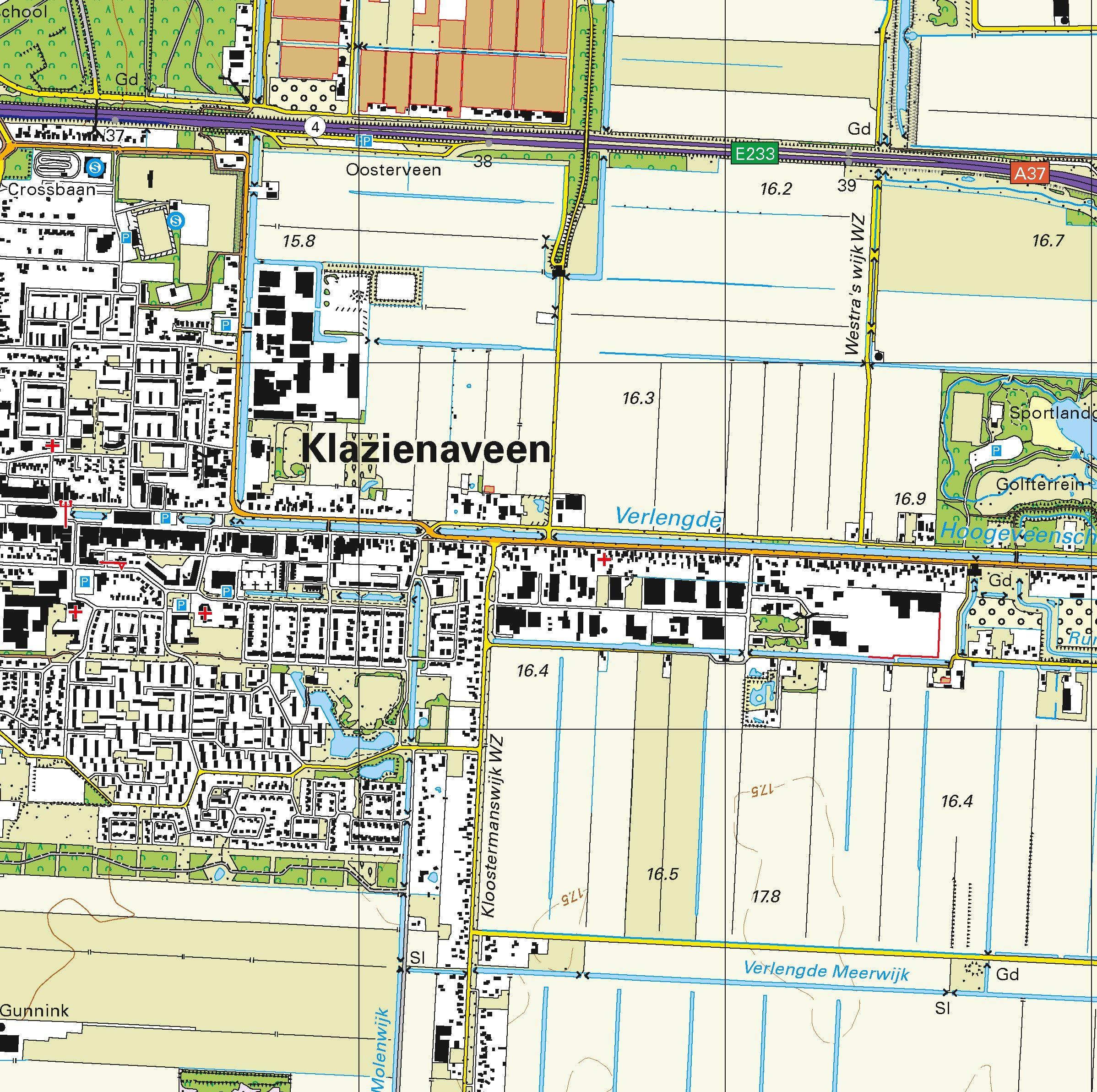 Topografische kaart schaal 1:25.000 (Emmen, Klazienaveen, Schoonebeek, Nieuw-Amsterdam)