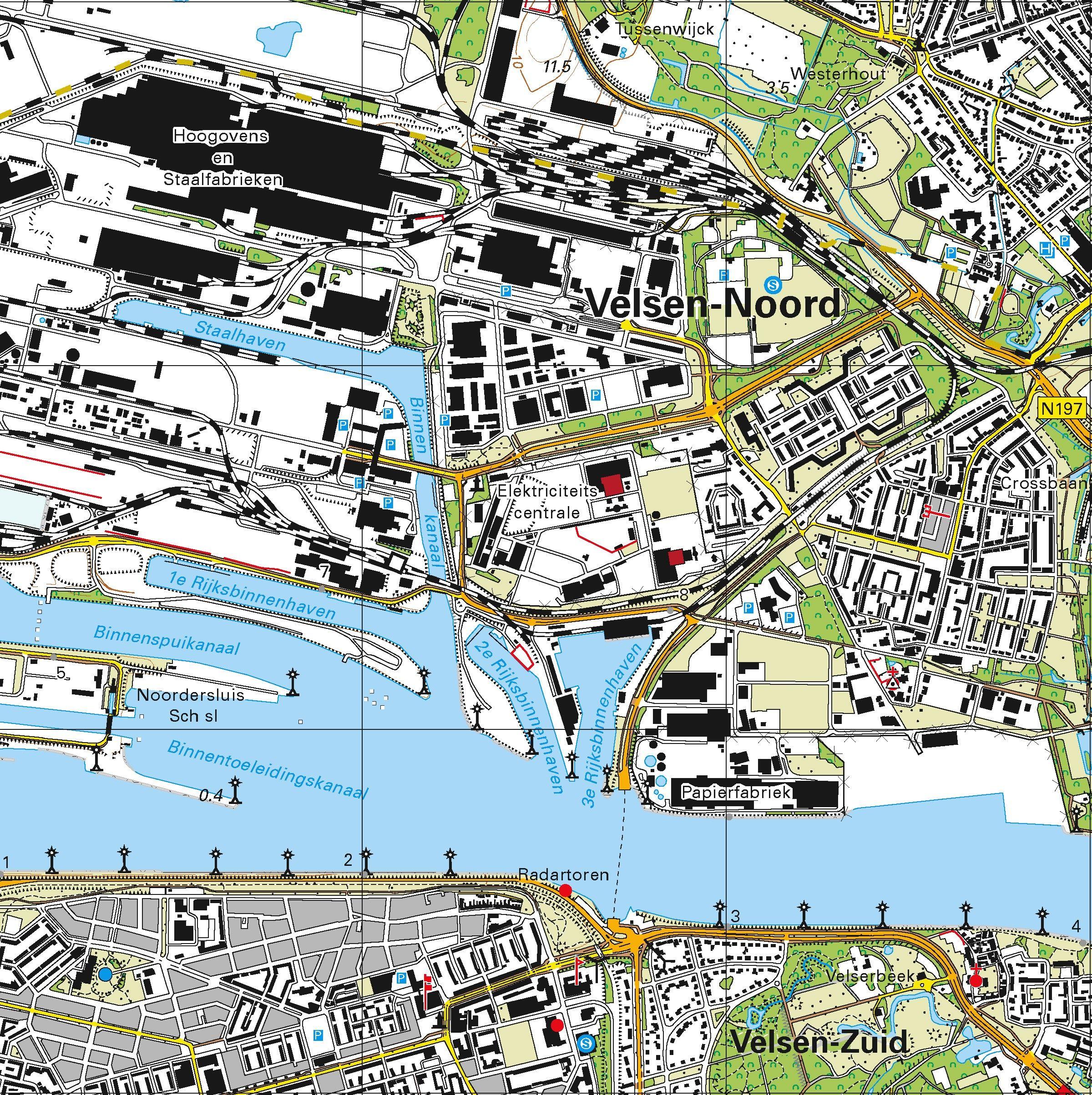 Topografische kaart schaal 1:25.000 (Haarlem, Heemskerk, IJmuiden, Velsen, Castricum)