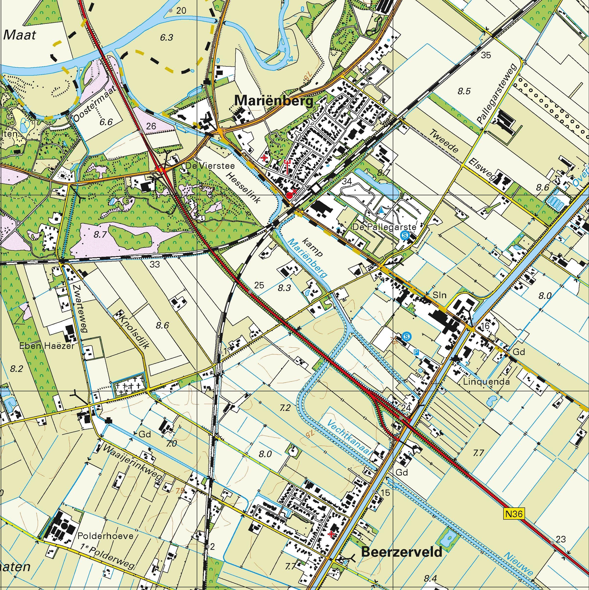 Topografische kaart schaal 1:25.000 (Hardenberg, Vroomshoop, Vriezenveen, Almelo, Geesteren)