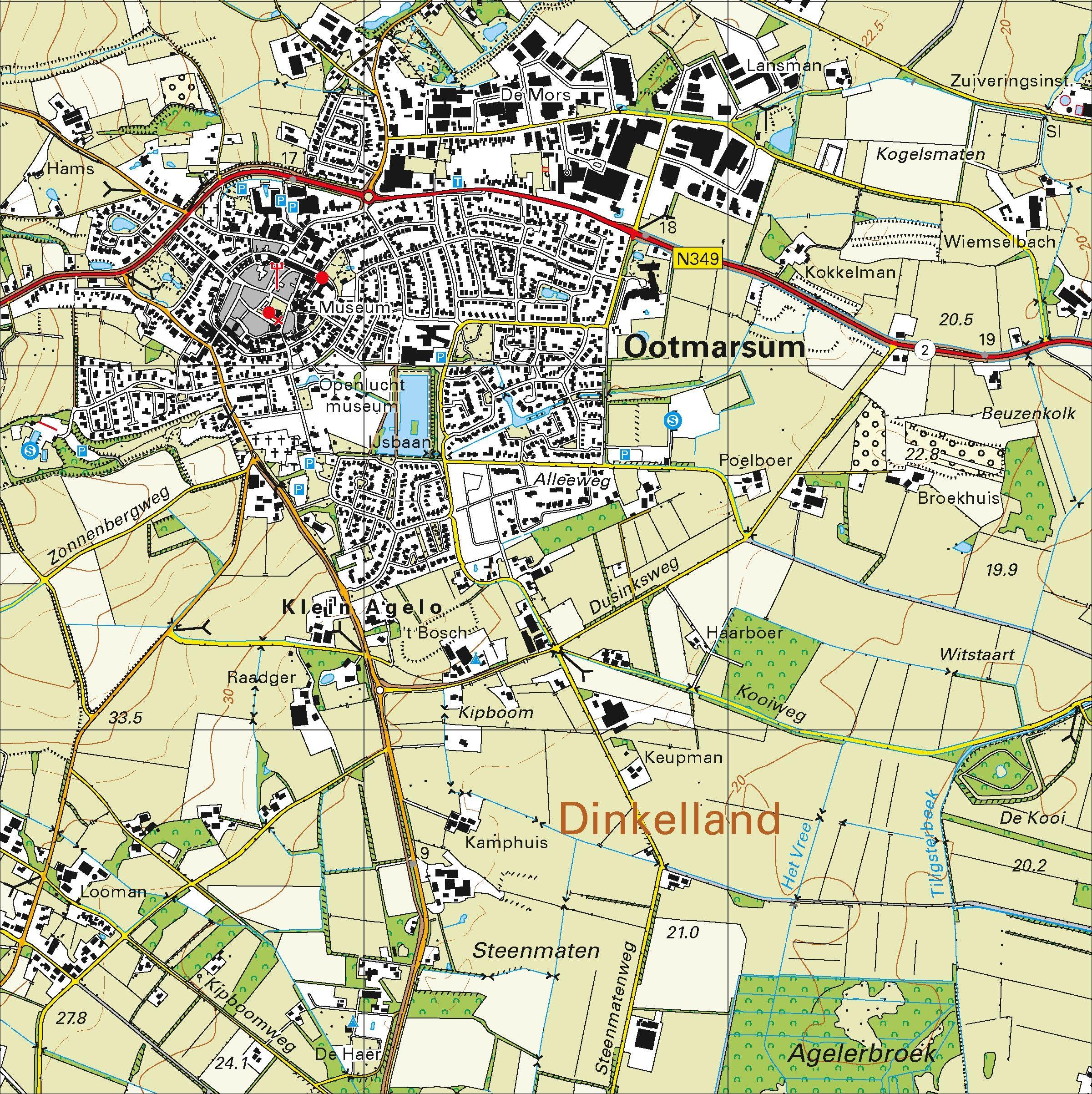 Topografische kaart schaal 1:25.000 (Hengelo, Oldenzaal, Losser, Denekamp, Ootmarsum)