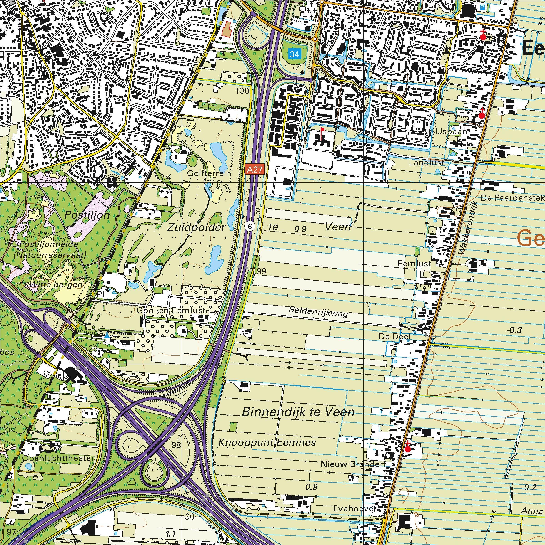 Topografische kaart schaal 1:25.000 (Almere, Huizen, Hilversum, Baarn, Amersfoort, Soest)