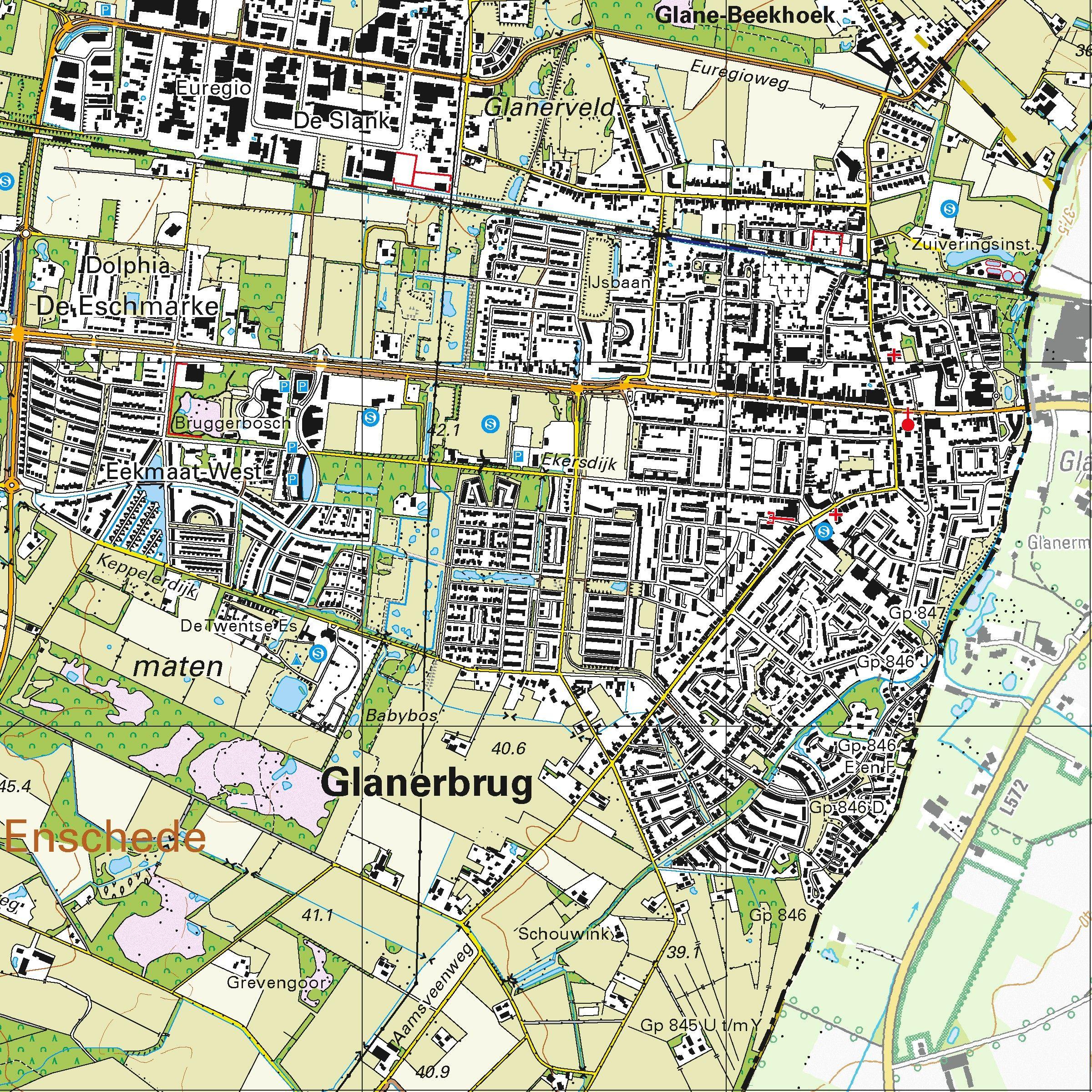 Topografische kaart schaal 1:25.000 (Oldenzaal, Losser, Enschede, Hengelo, Glanerbrug)