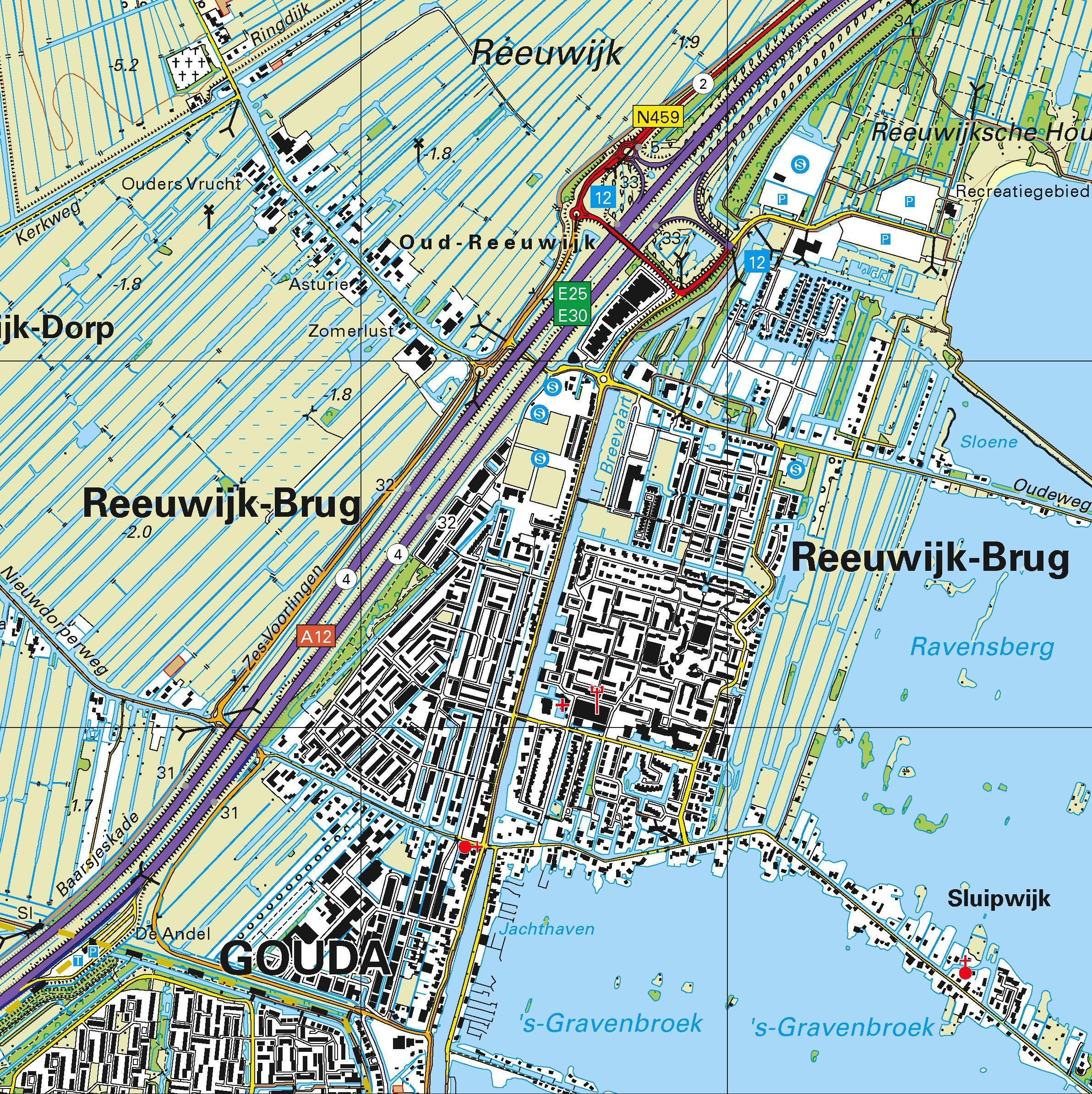Topografische kaart schaal 1:25.000 (Alphen aan den Rijn, Waddinxveen, Gouda, Bodegraven, Schoonhoven)