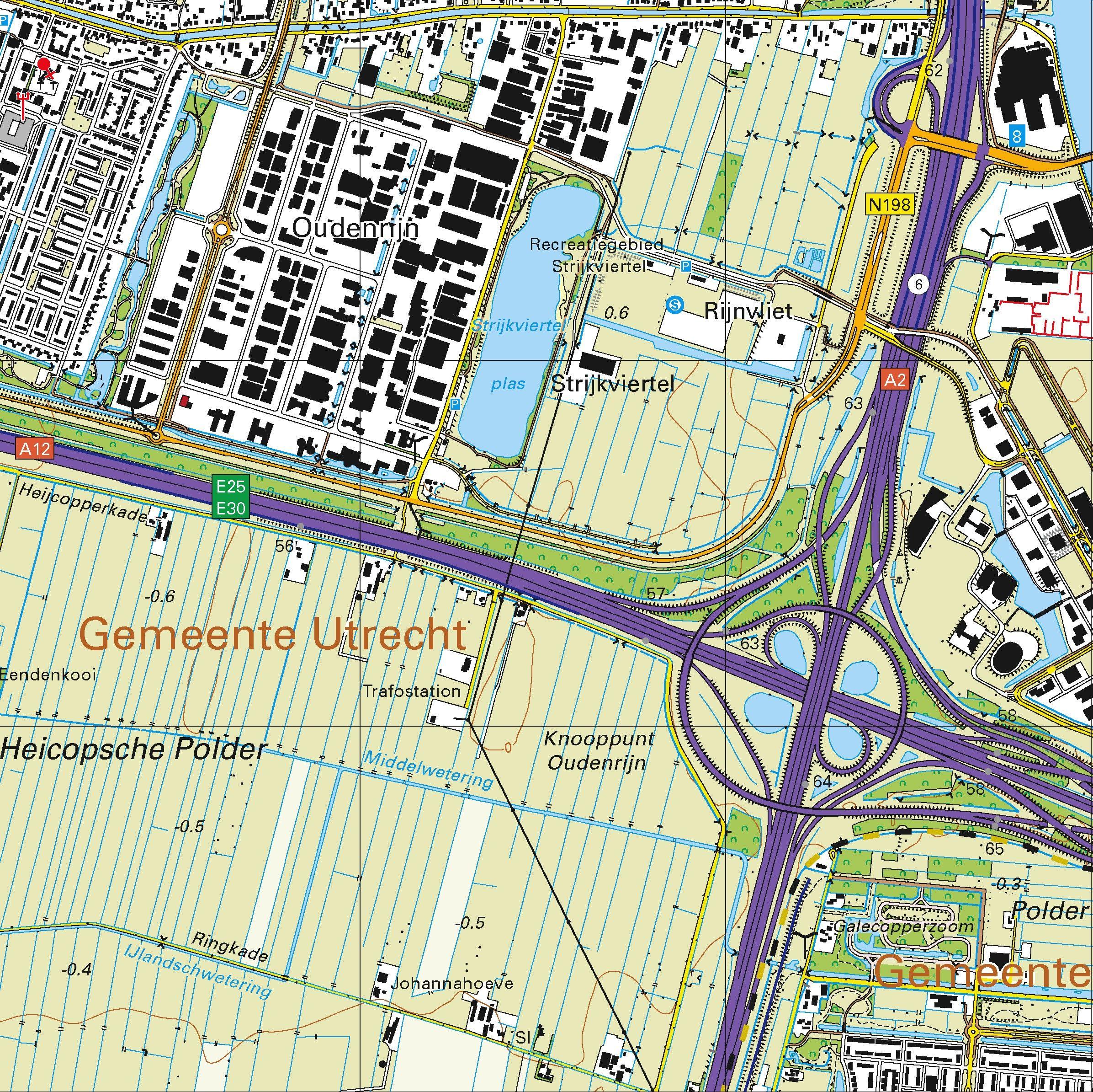 Topografische kaart schaal 1:25.000 (Utrecht, Woerden, Nieuwegein, IJsselstein, Houten, Vianen)