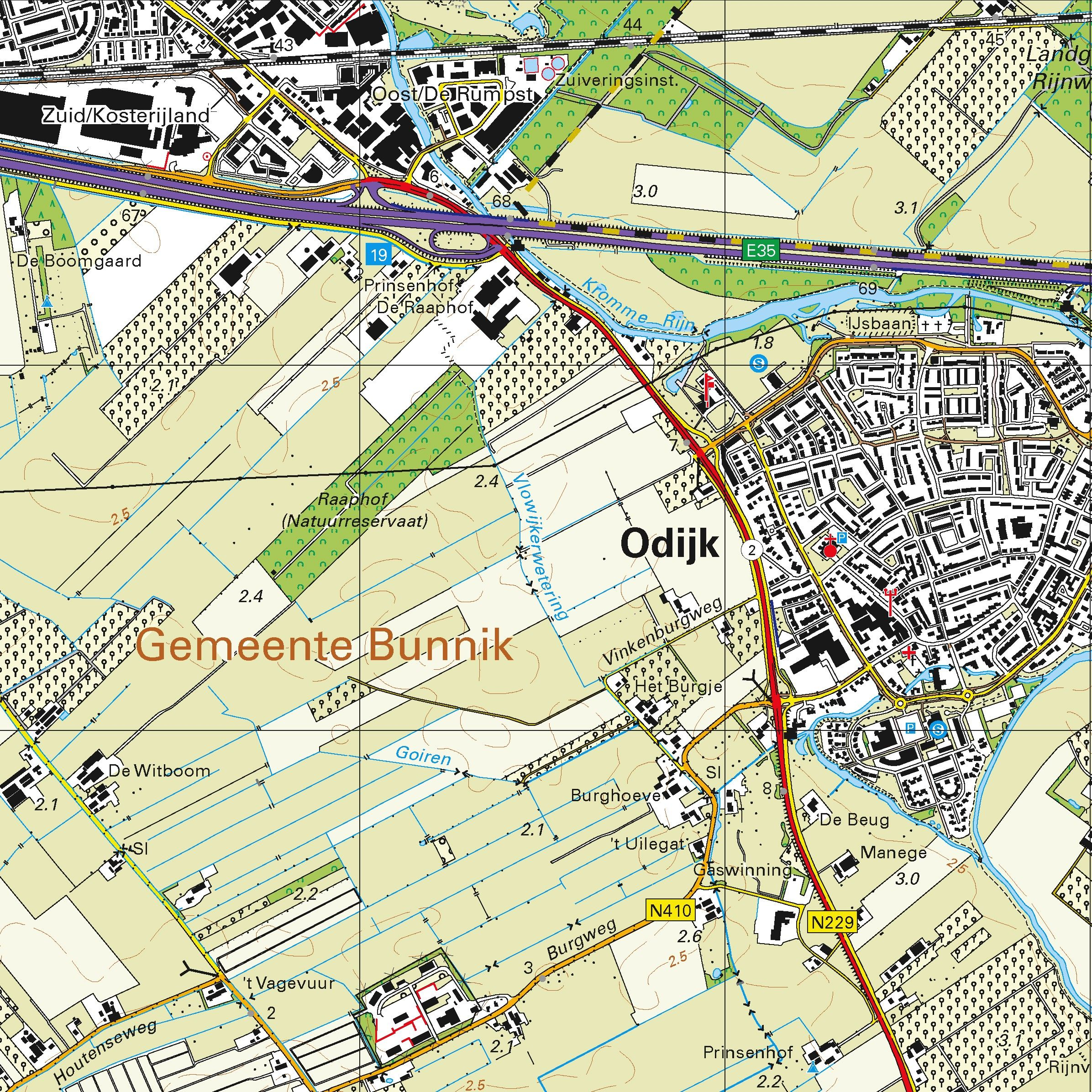 Topografische kaart schaal 1:25.000 (Bilthoven, Zeist, Soesterberg, Amersfoort, Houten, Utrecht, Culemborg)