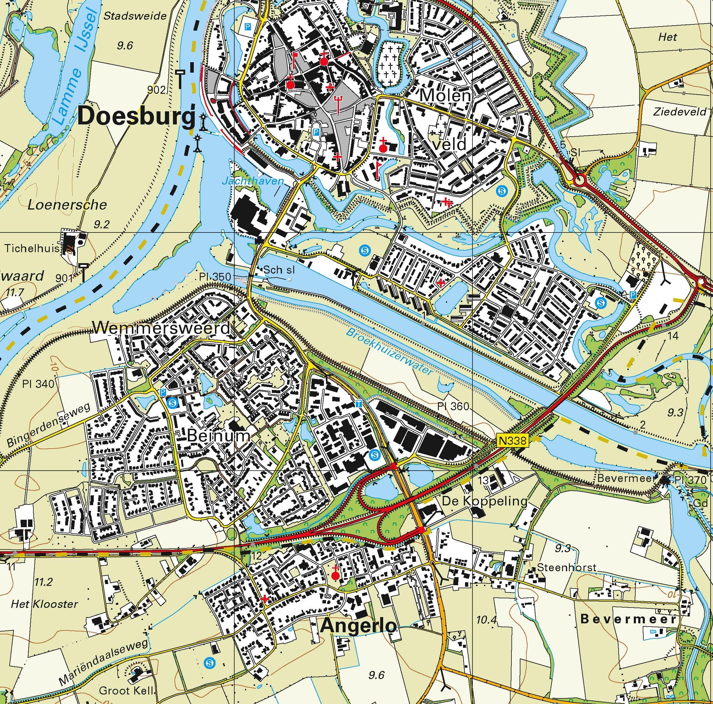 Topografische kaart schaal 1:25.000 (Zutphen, Hengelo, Dieren, Doesburg, Doetinchem, Didam)