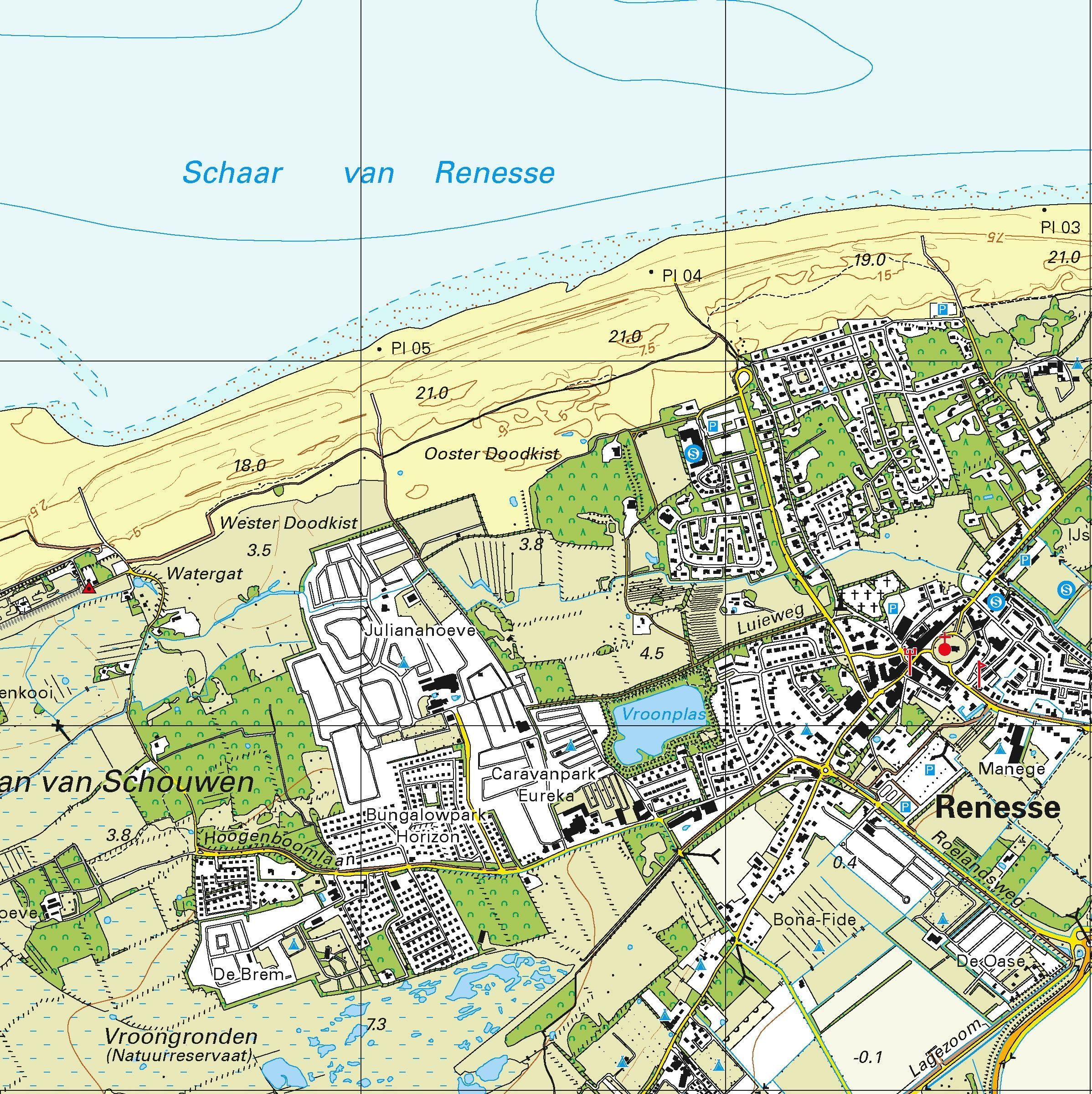 Topografische kaart schaal 1:25.000 (Ouddorp, Brouwershaven, Burg-Haamstede, Renesse)