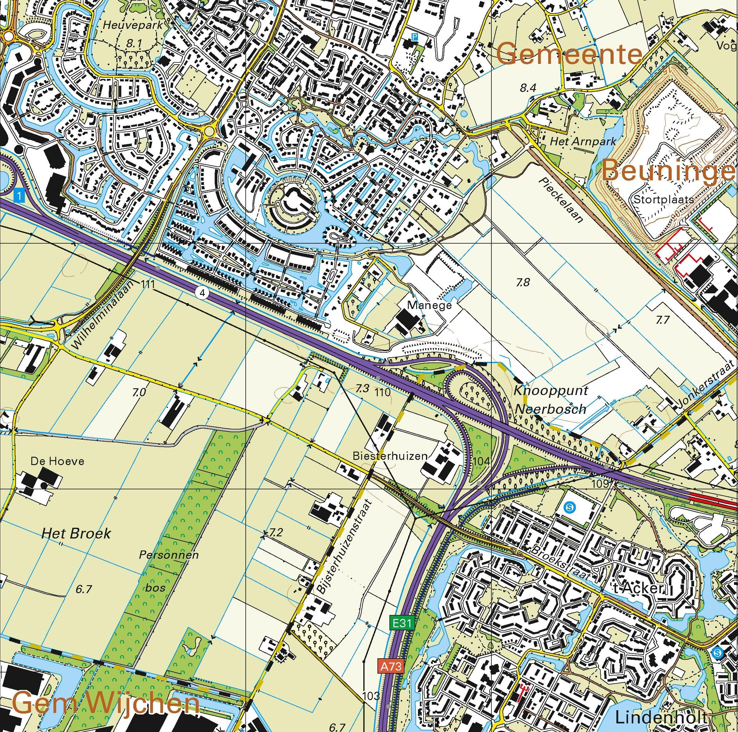 Topografische kaart schaal 1:25.000 (Nijmegen, Wijchen, Beuningen, Malden, Cuijk,Grave)