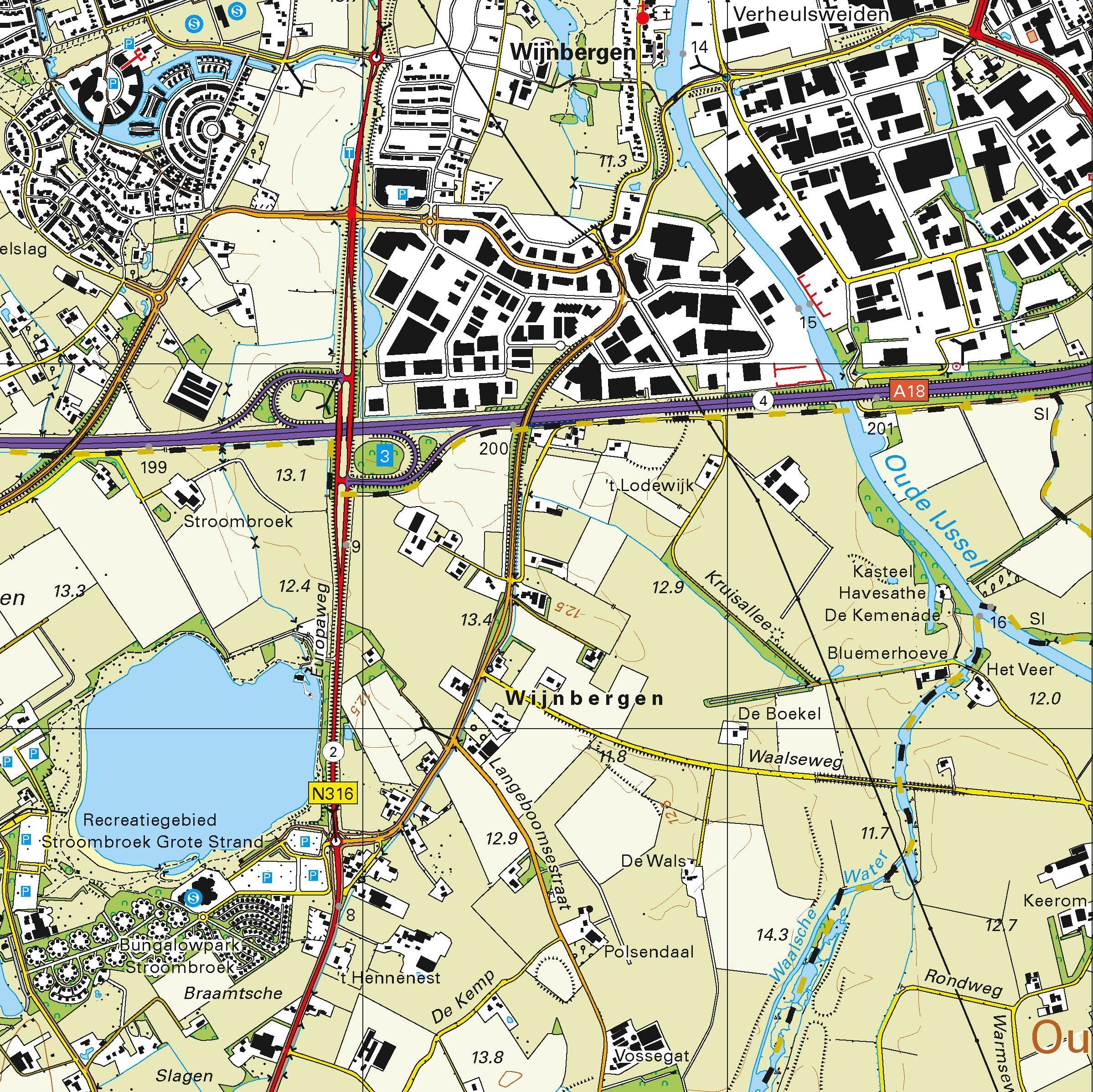 Topografische kaart schaal 1:25.000 (Doetinchem, Zevenaar, Didam, 's-Heerenberg, Zeddam)