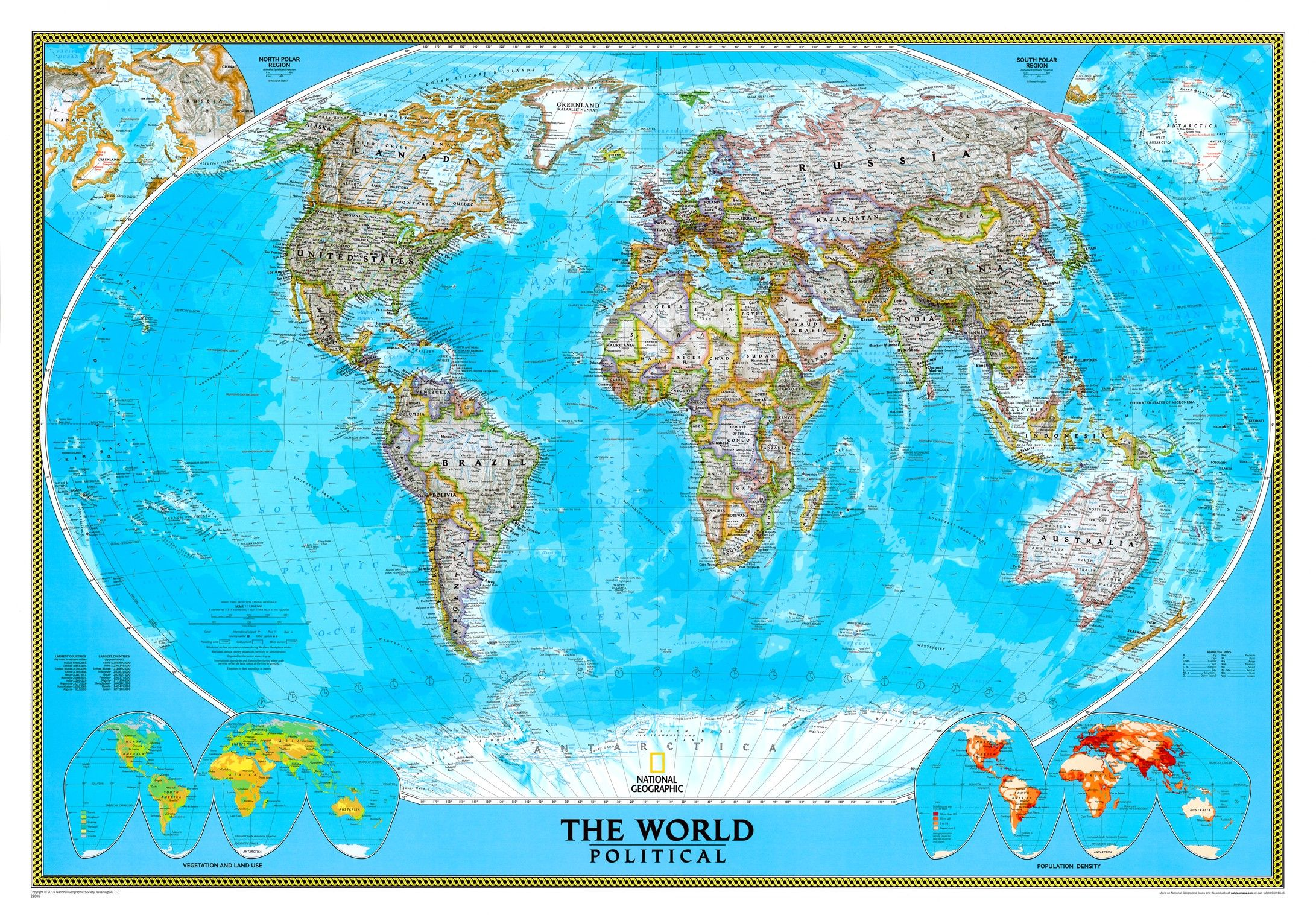 Wereldkaart E National Geographic Staatkundig  1:14.000.000