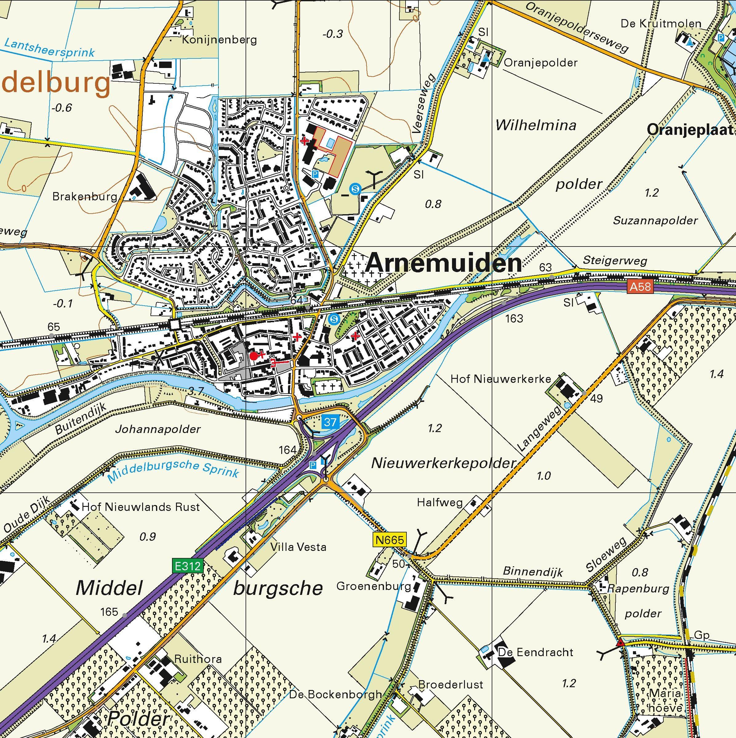 Topografische kaart schaal 1:25.000 (Middelburg, Arnemuiden, Heinkenszand, Kortgene, Burgh-Haamstede)