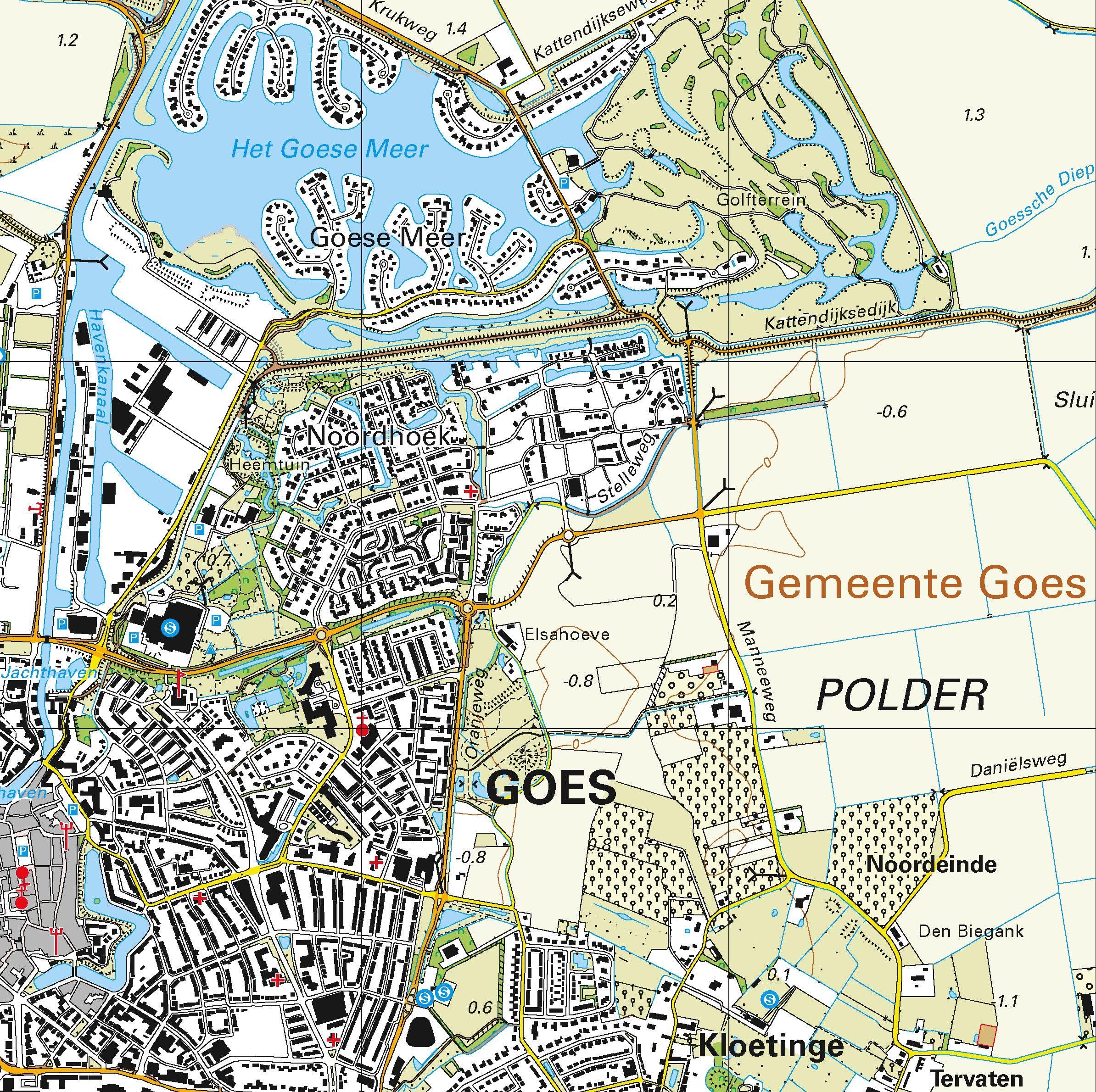 Topografische kaart schaal 1:25.000 (Zierikzee, Bruinisse, Goes, Kapelle, Yerseke, Wemeldinge)