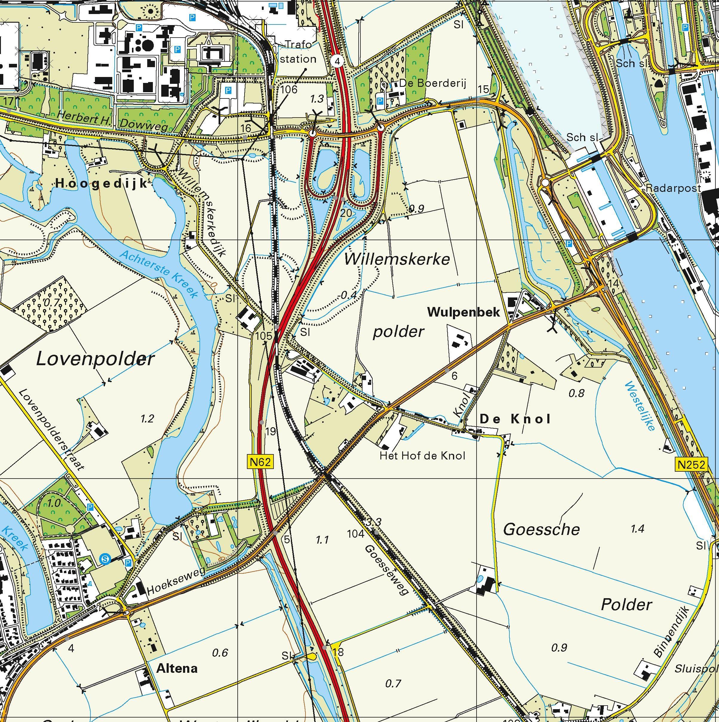Topografische kaart schaal 1:25.000 (Terneuzen, Sluiskil, Philippine, Biervliet, IJzendijke)
