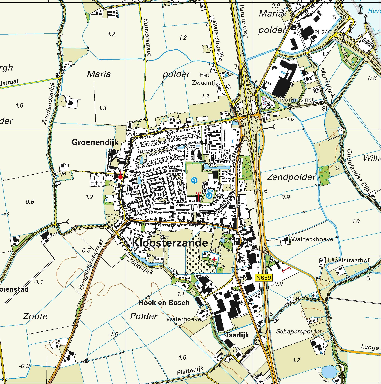 Topografische kaart schaal 1:25.000 (Krabbendijke, Kruiningen, Kloosterzande, Hulst, Axel, Zaamslag)