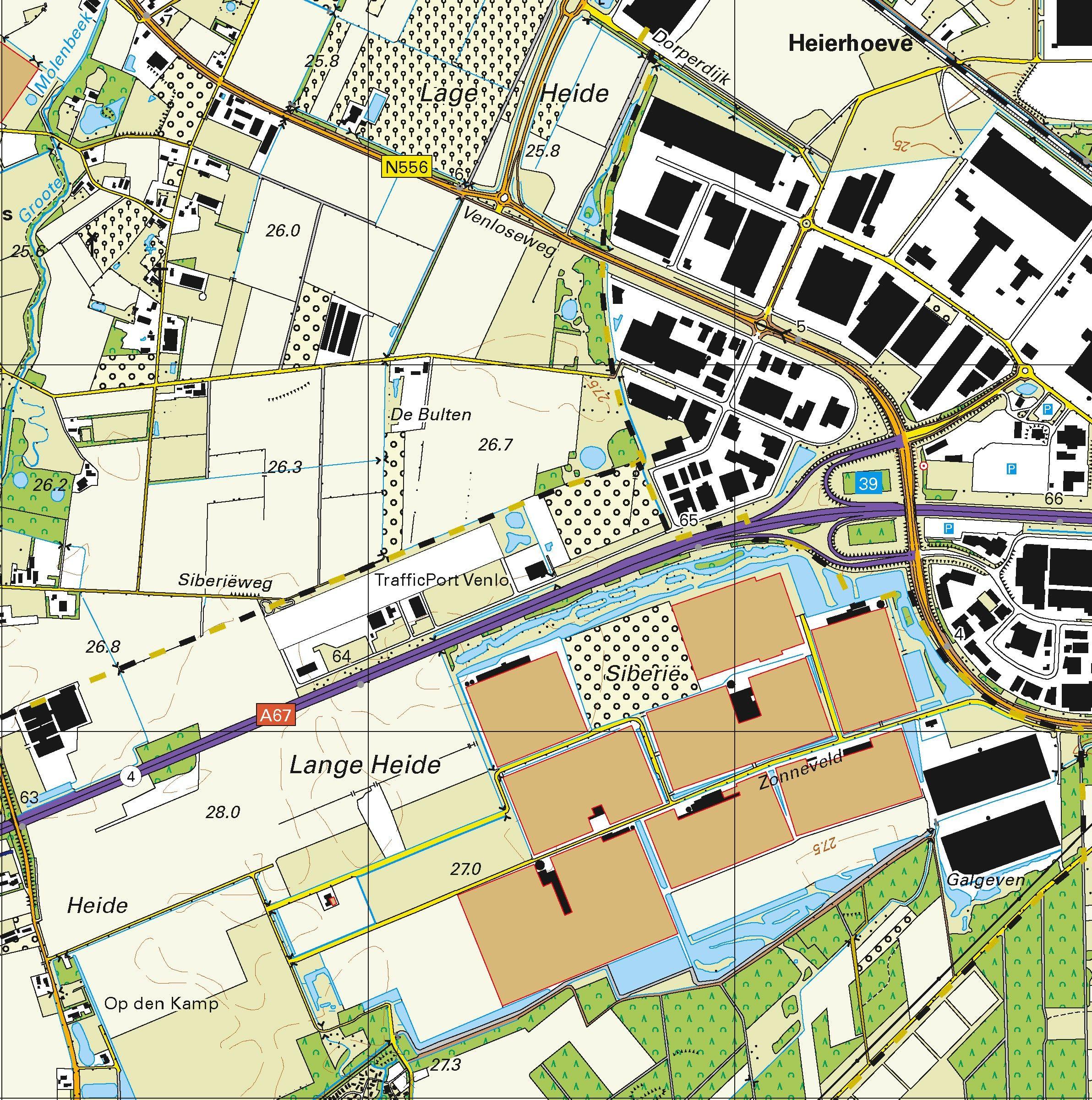 Topografische kaart schaal 1:25.000 (Horst, Venlo, Tegelen, Maasbree, Panningen, Reuver)