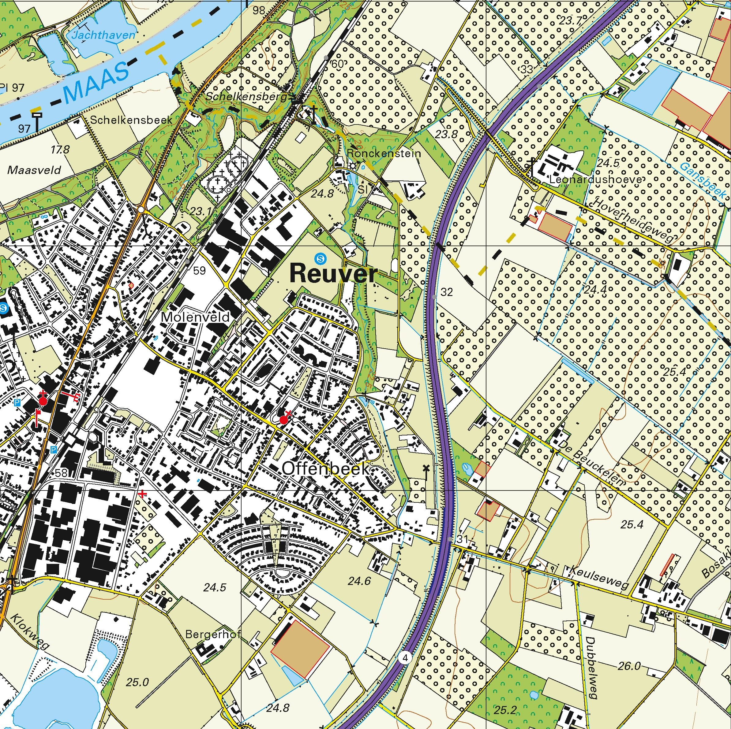 Topografische kaart schaal 1:25.000 (Venlo, Tegelen, Horst, Baarlo, Belfeld, Swalmen, Herkenbosch)