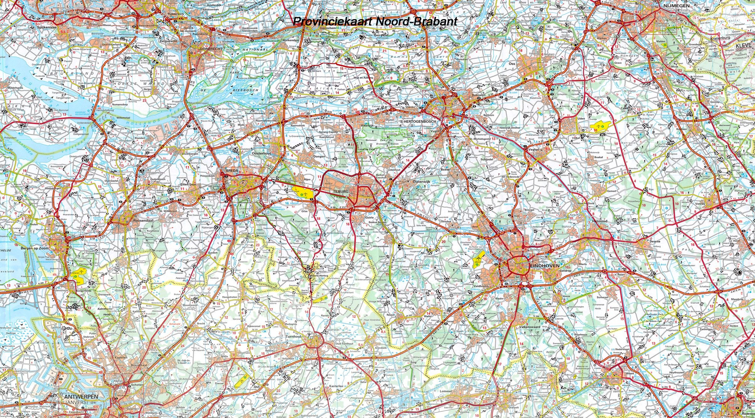 Provincie kaart Noord Brabant 1:100.000
