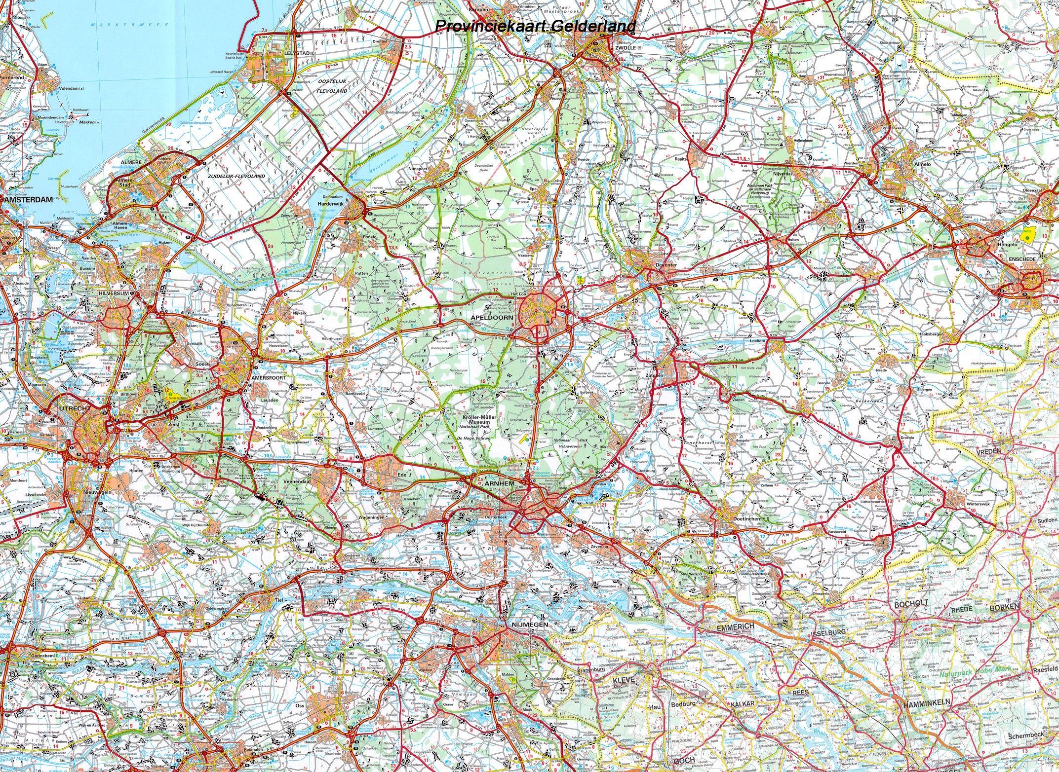 Provincie kaart Gelderland 1:100.000