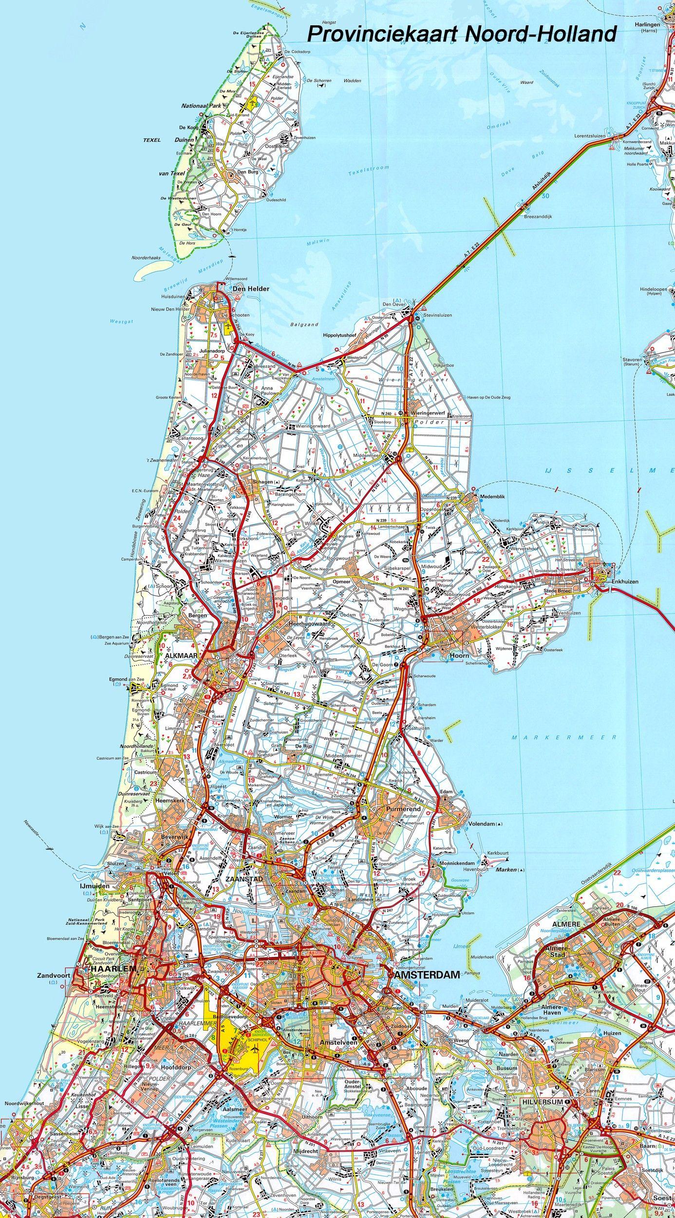 Provincie kaart Noord-Holland 1:100.000