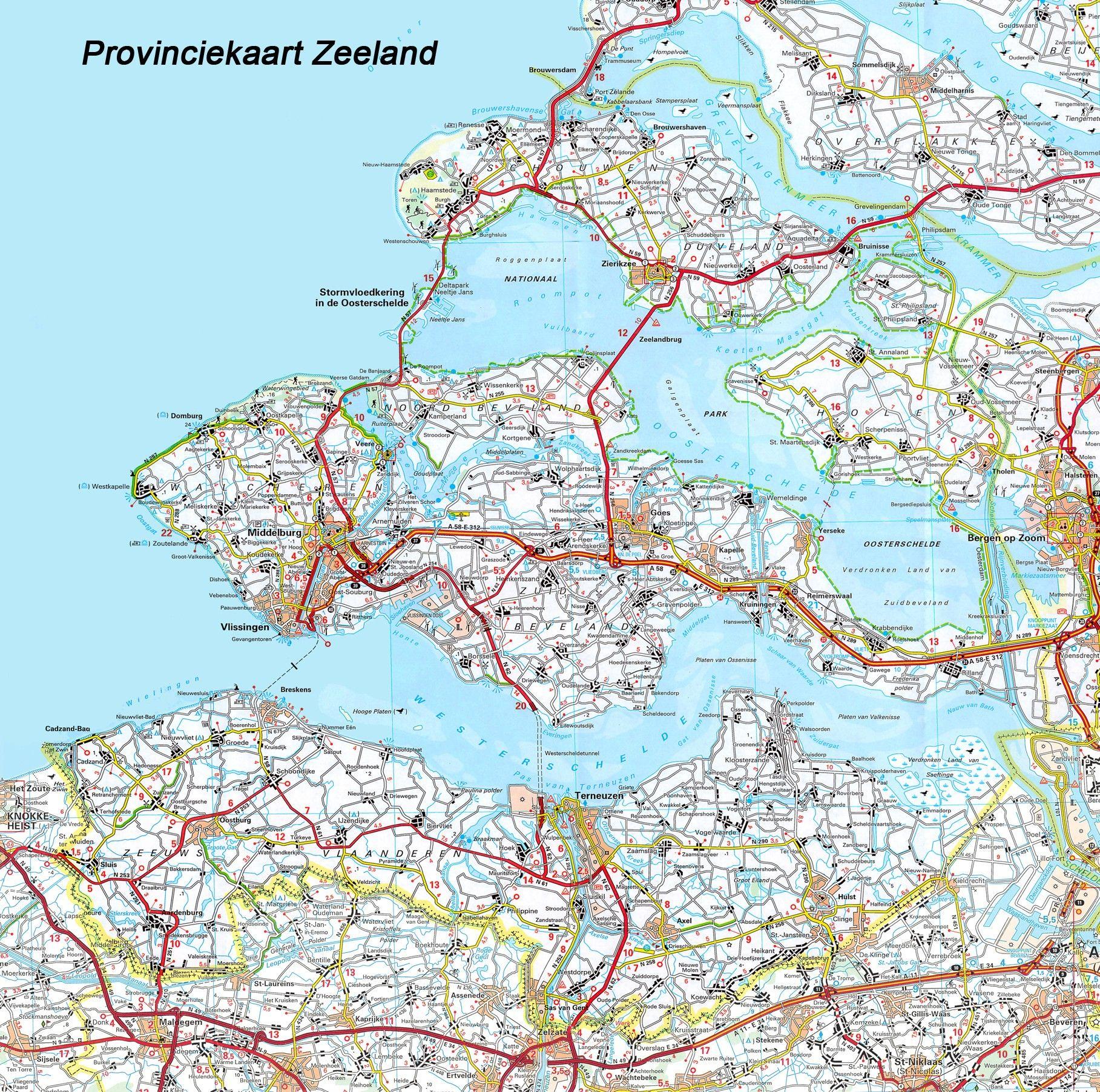 Provincie kaart Zeeland 1:100.000