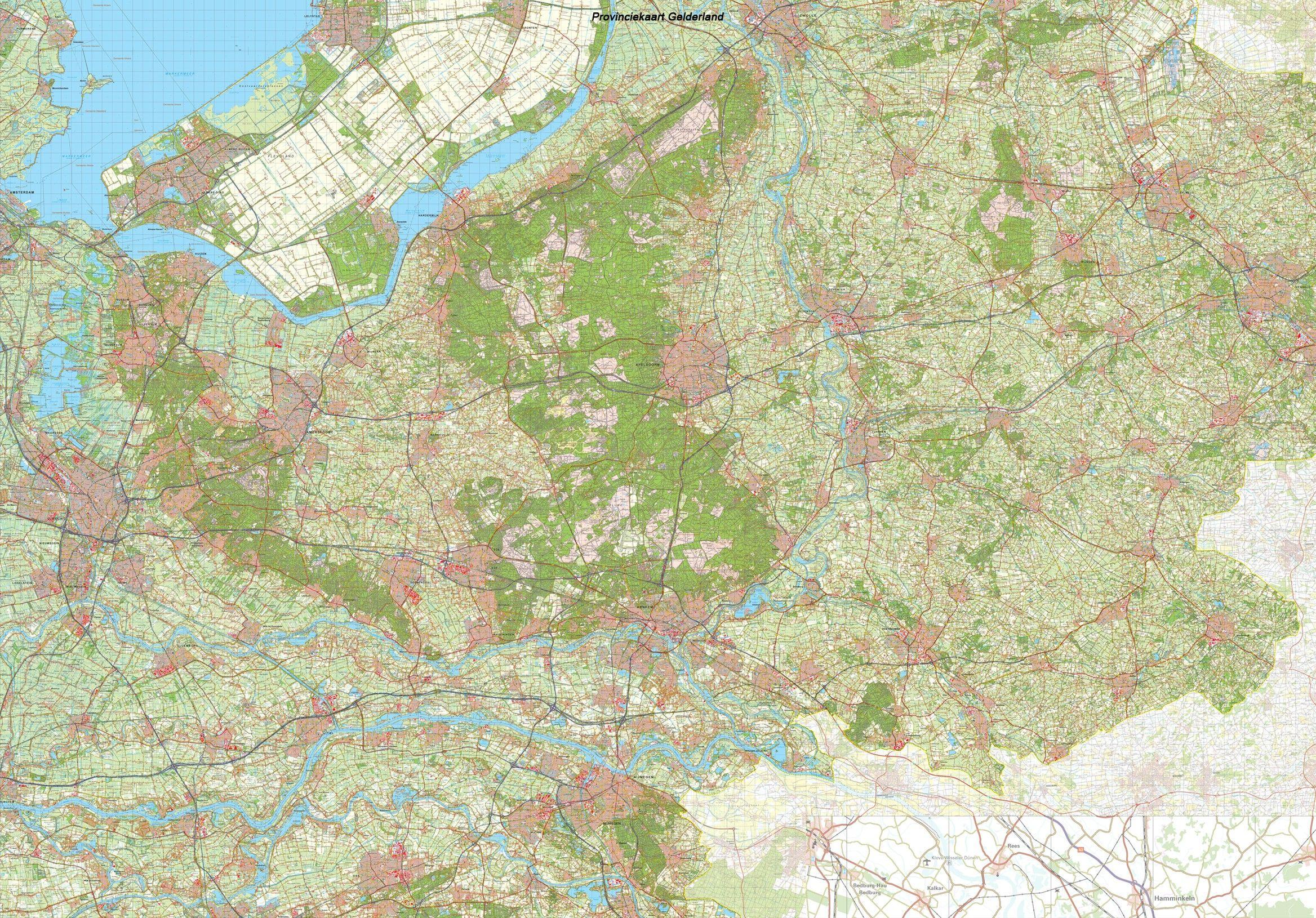 Provincie kaart Gelderland schaal 1:50.000