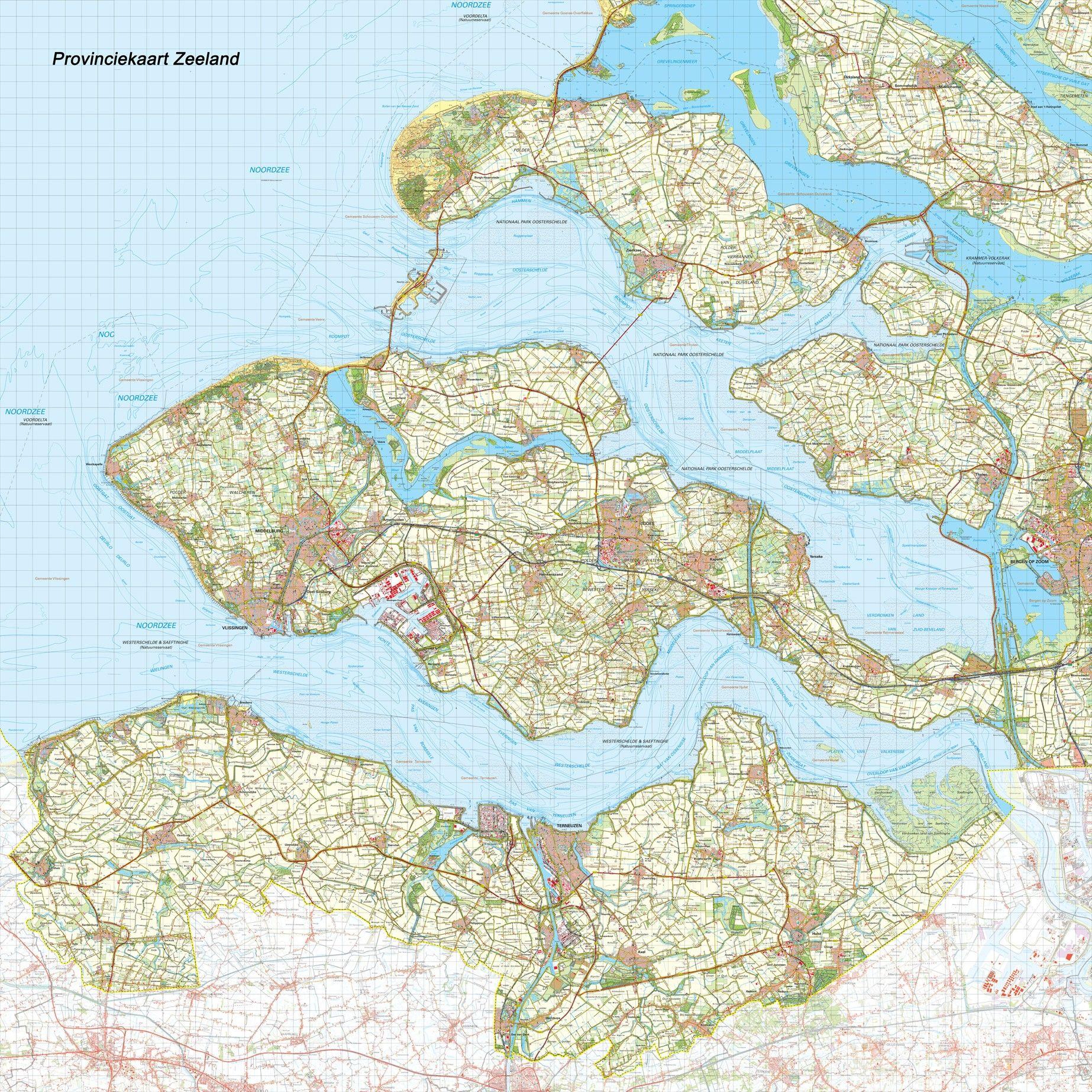 Provincie kaart Zeeland schaal 1:50.000