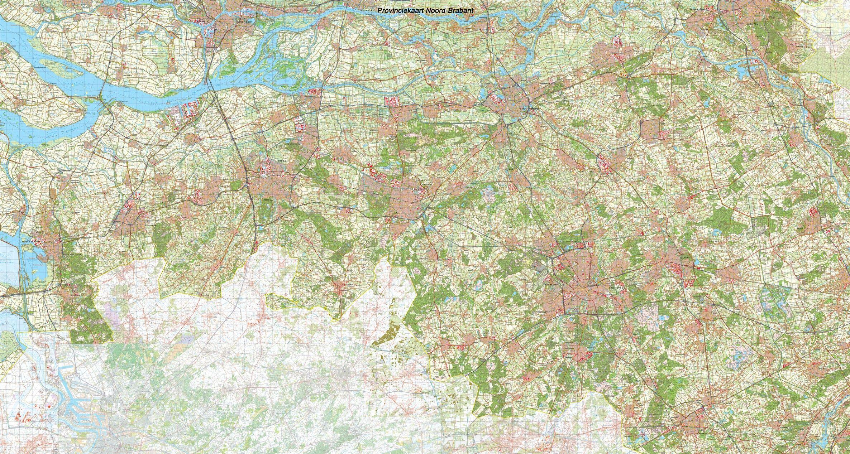 Provincie kaart Noord Brabant schaal 1:50.000