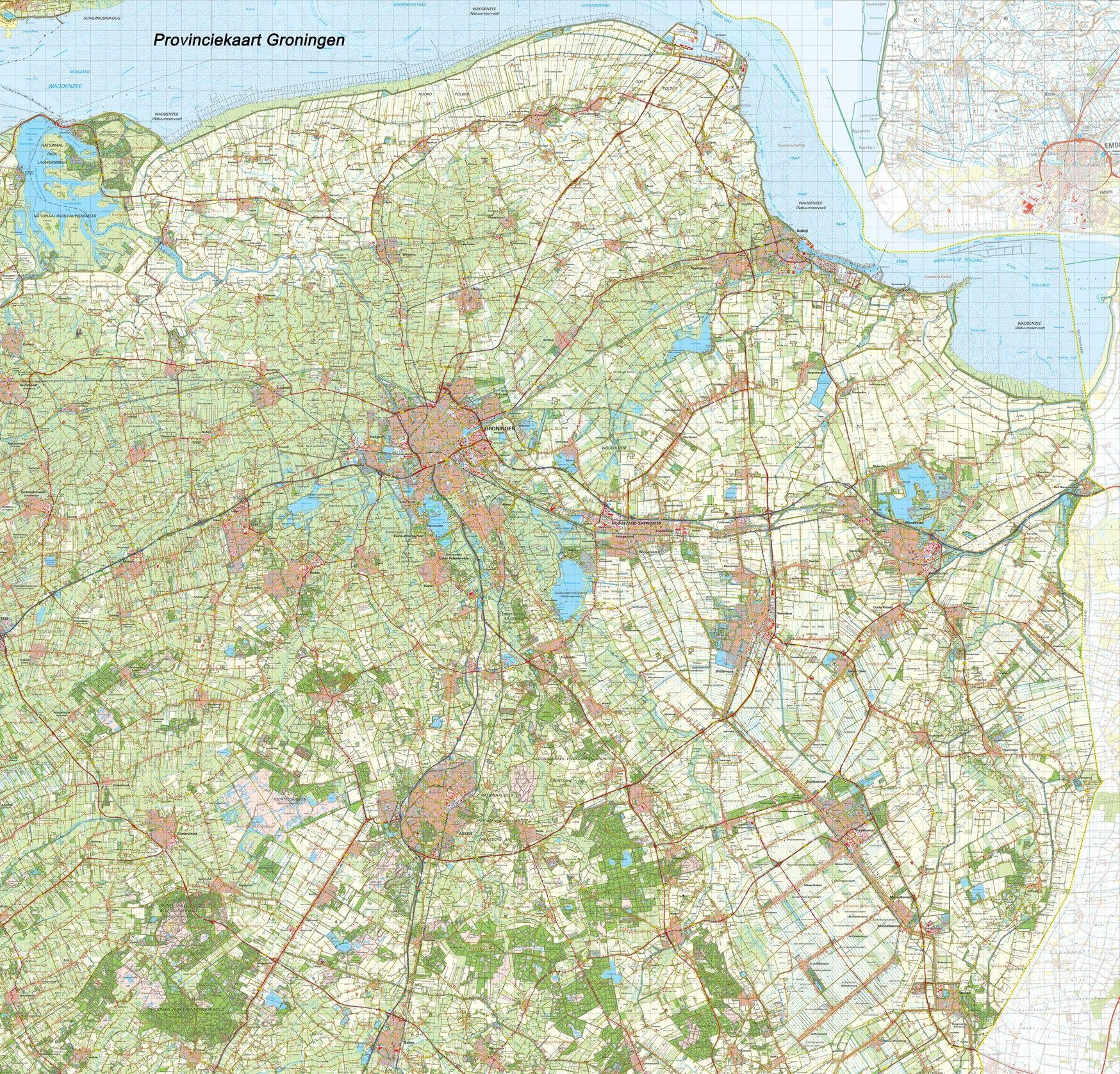 Provincie kaart Groningen schaal 1:50.000