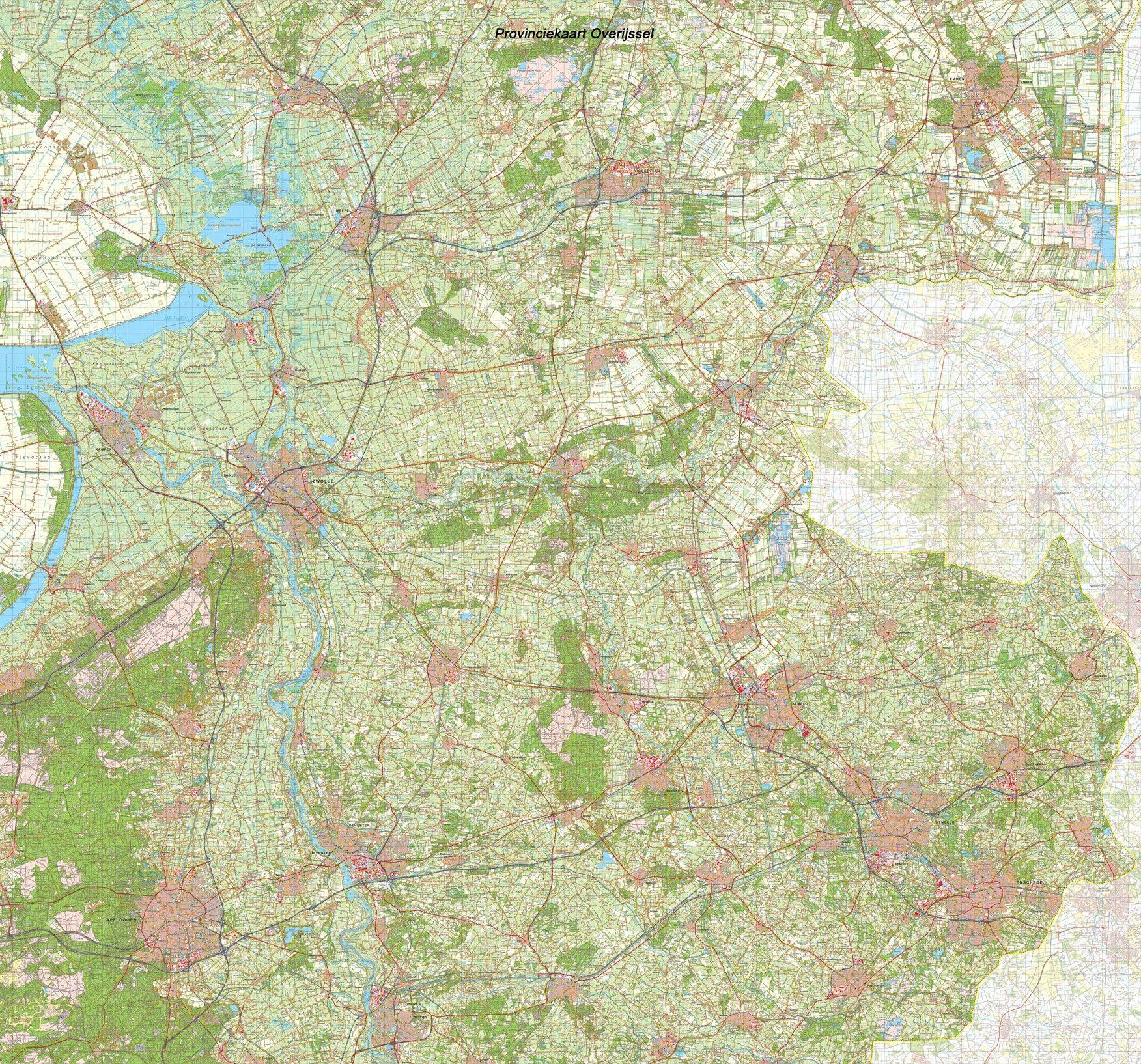 Provincie kaart Overijssel schaal 1:50.000