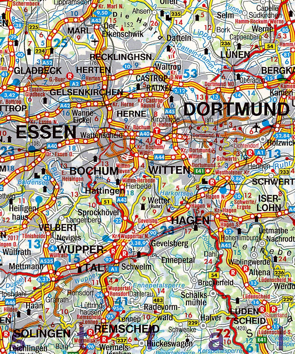 Landkaart Duitsland 1:700.000 met weekplanning  met plaatsnamenindex