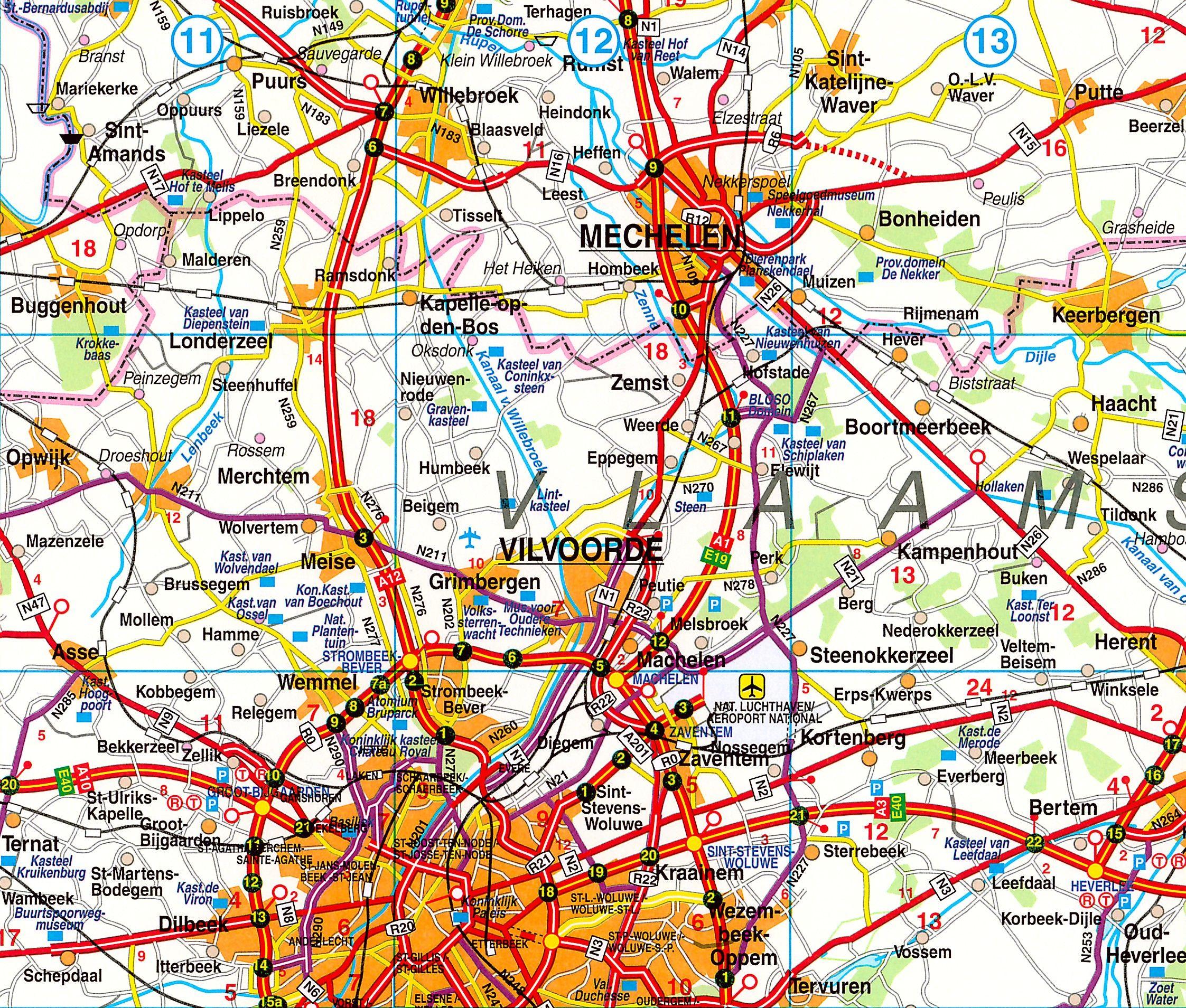 Landkaart Belgie Falk 1:250.000 met weekplanning  met plaatsnamenindex