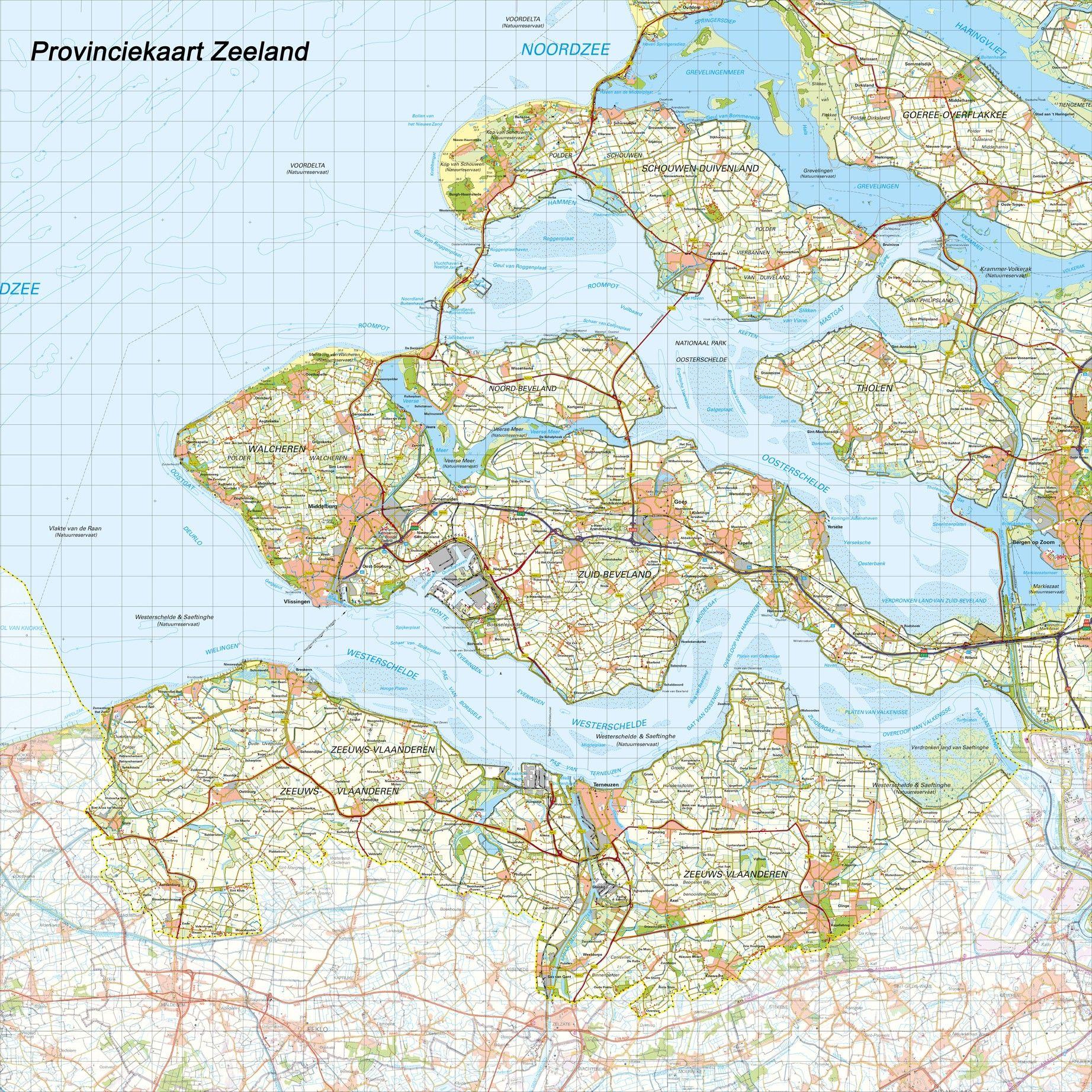 Topografische Provincie kaart Zeeland 1:100.000