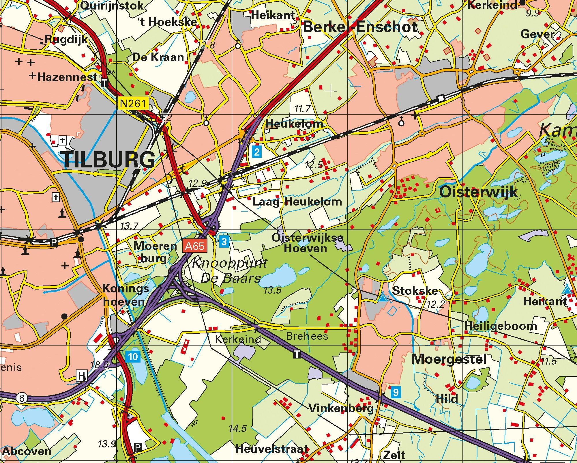 Topografische Provincie kaart Noord Brabant 1:100.000