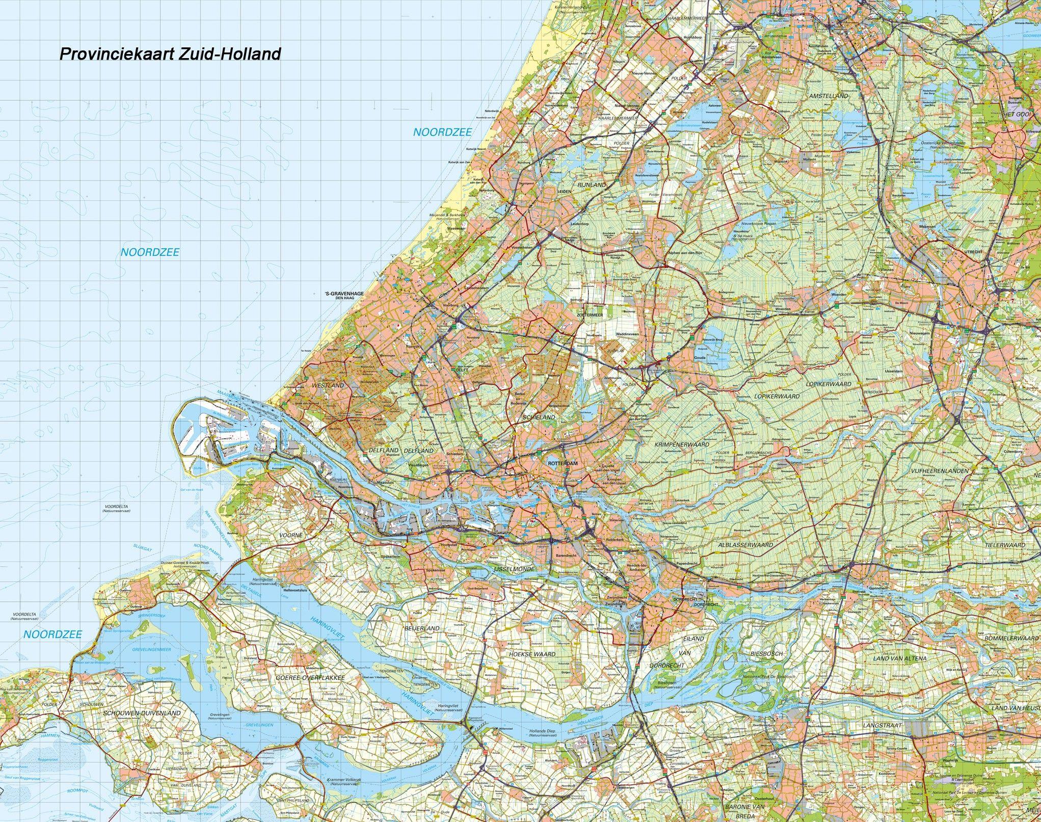 Topografische Provincie kaart Zuid-Holland 1:100.000
