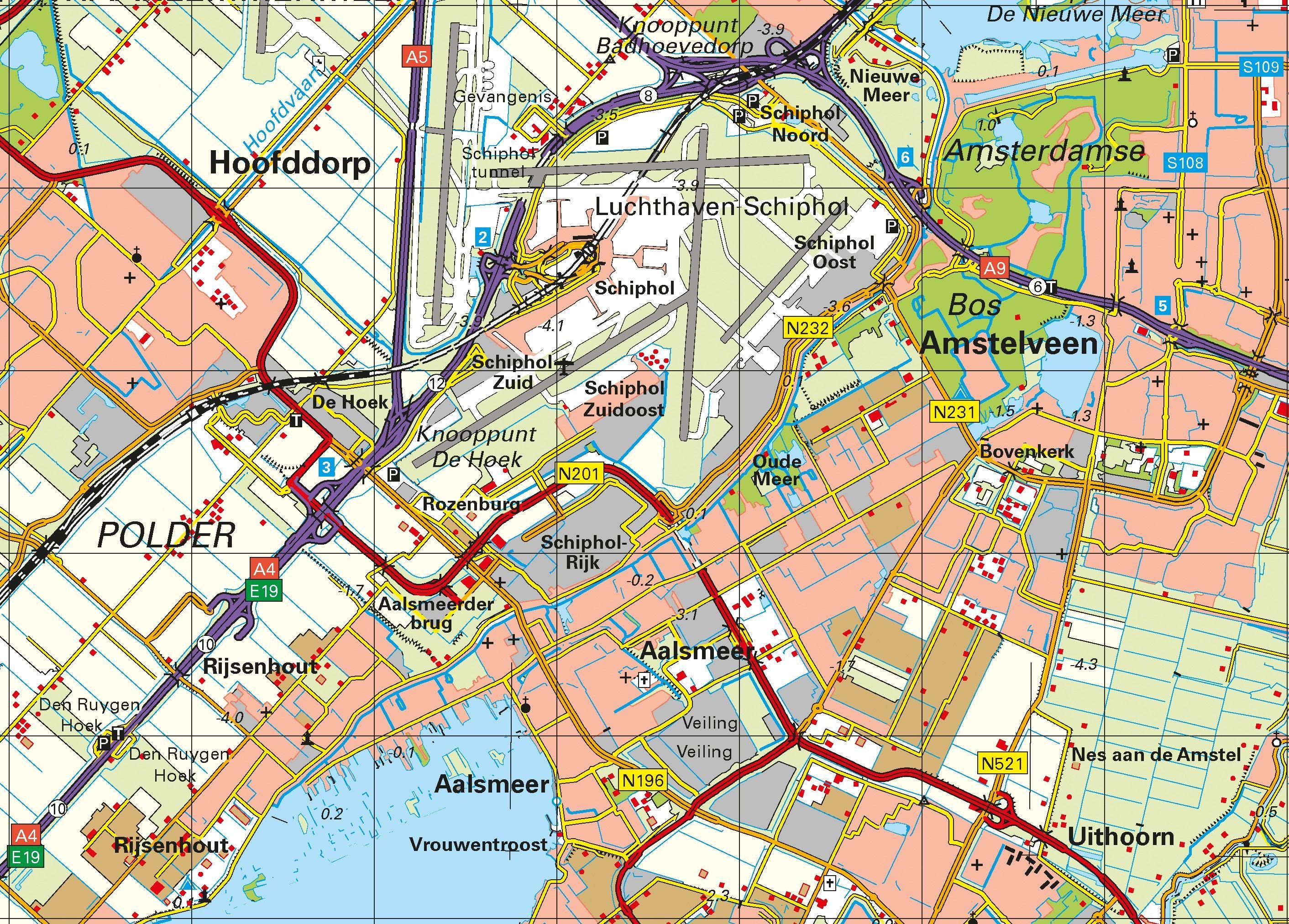 Topografische Provincie kaart Noord-Holland 1:100.000