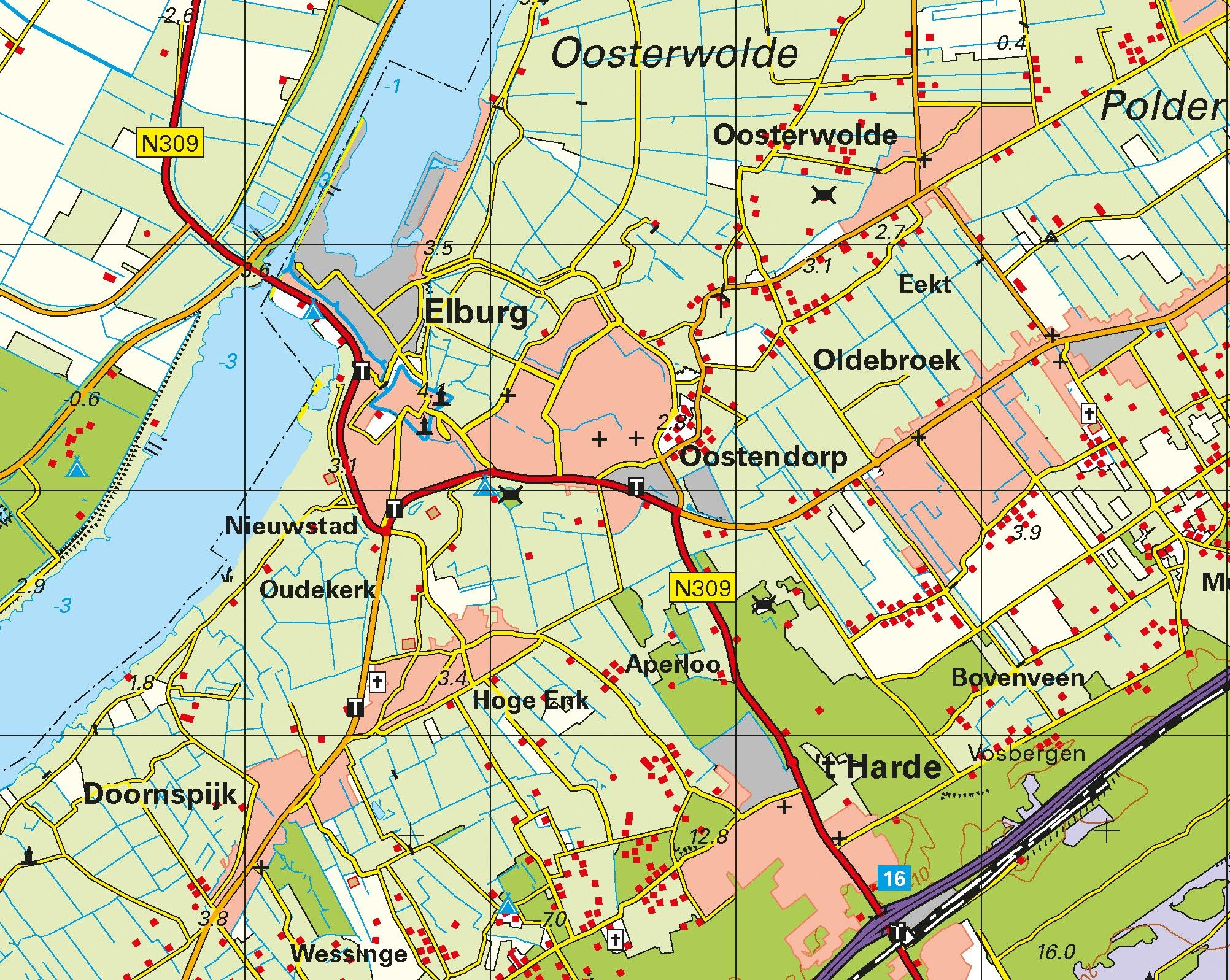 Topografische Provincie kaart Flevoland 1:100.000